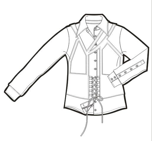 女士长袖衬衫矢量图特色绳子装饰服装设计手稿-POP花型网