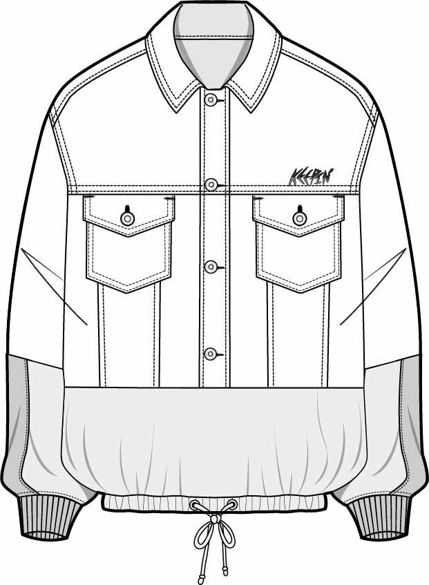男士服装外套设计矢量图收腰设计-POP花型网