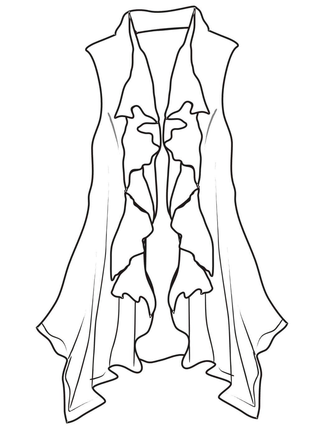 女装设计长款喇叭裙服装设计手稿-POP花型网