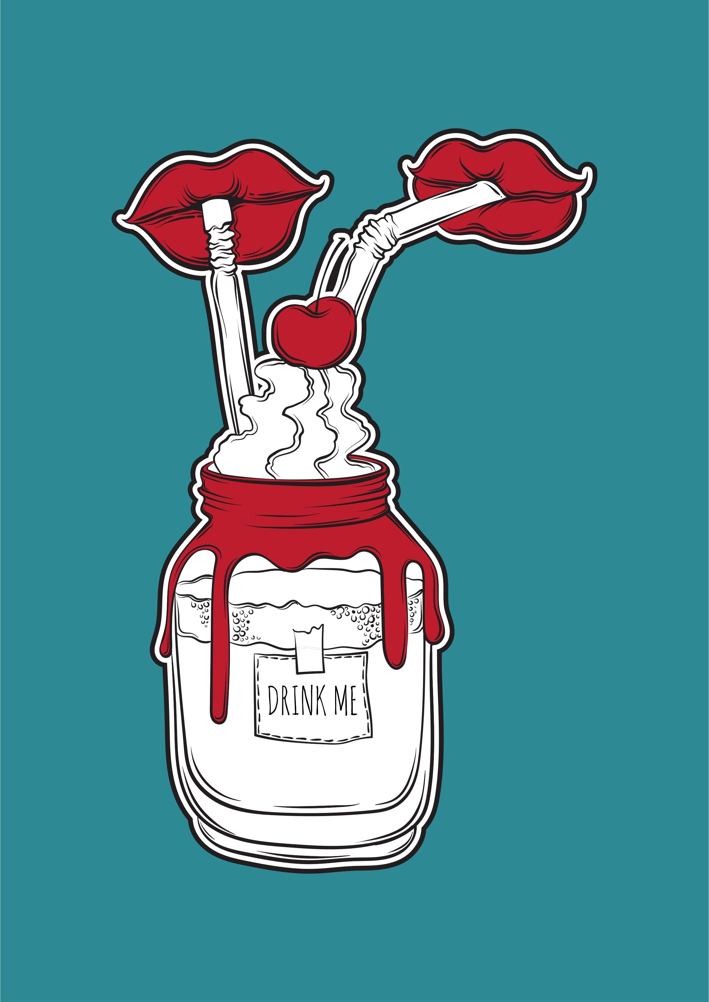 唇形吸管瓶子矢量图服装裁片烫图印花花型-POP花型网