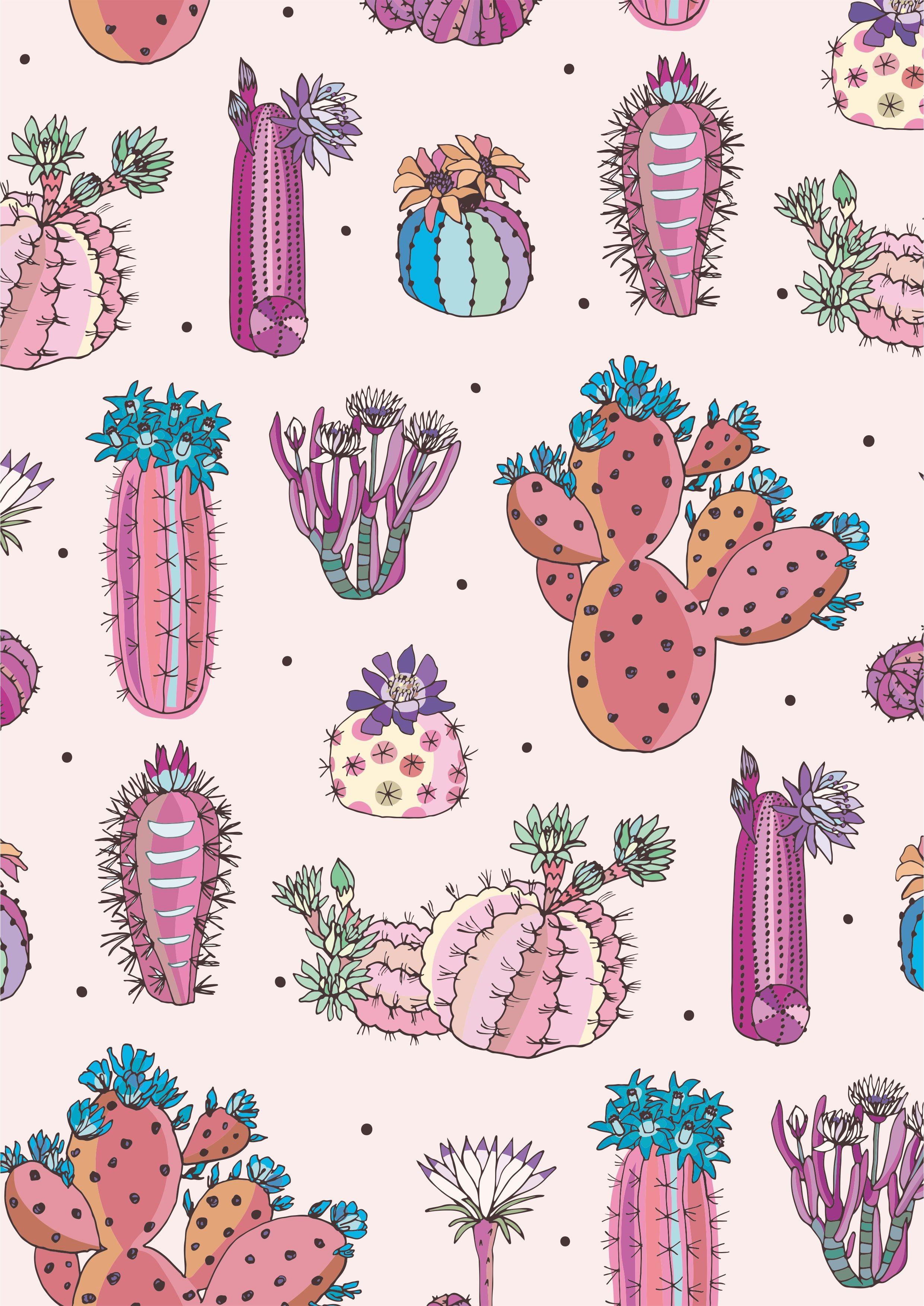 仙人掌植物花卉矢量图服装面料数码印花花型-POP花型网