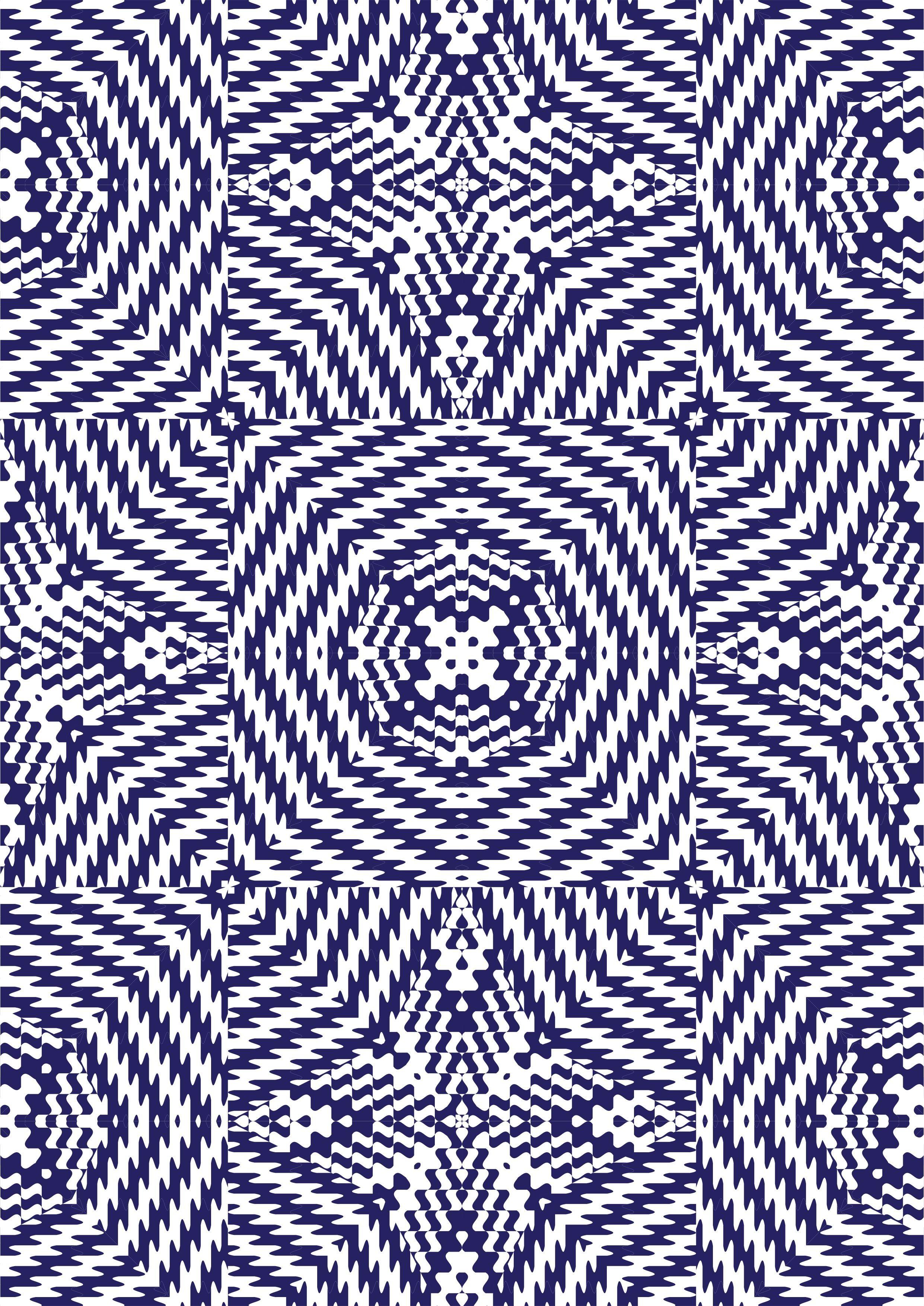 蓝色几何马赛克花纹矢量图服装面料数码印花花型-POP花型网