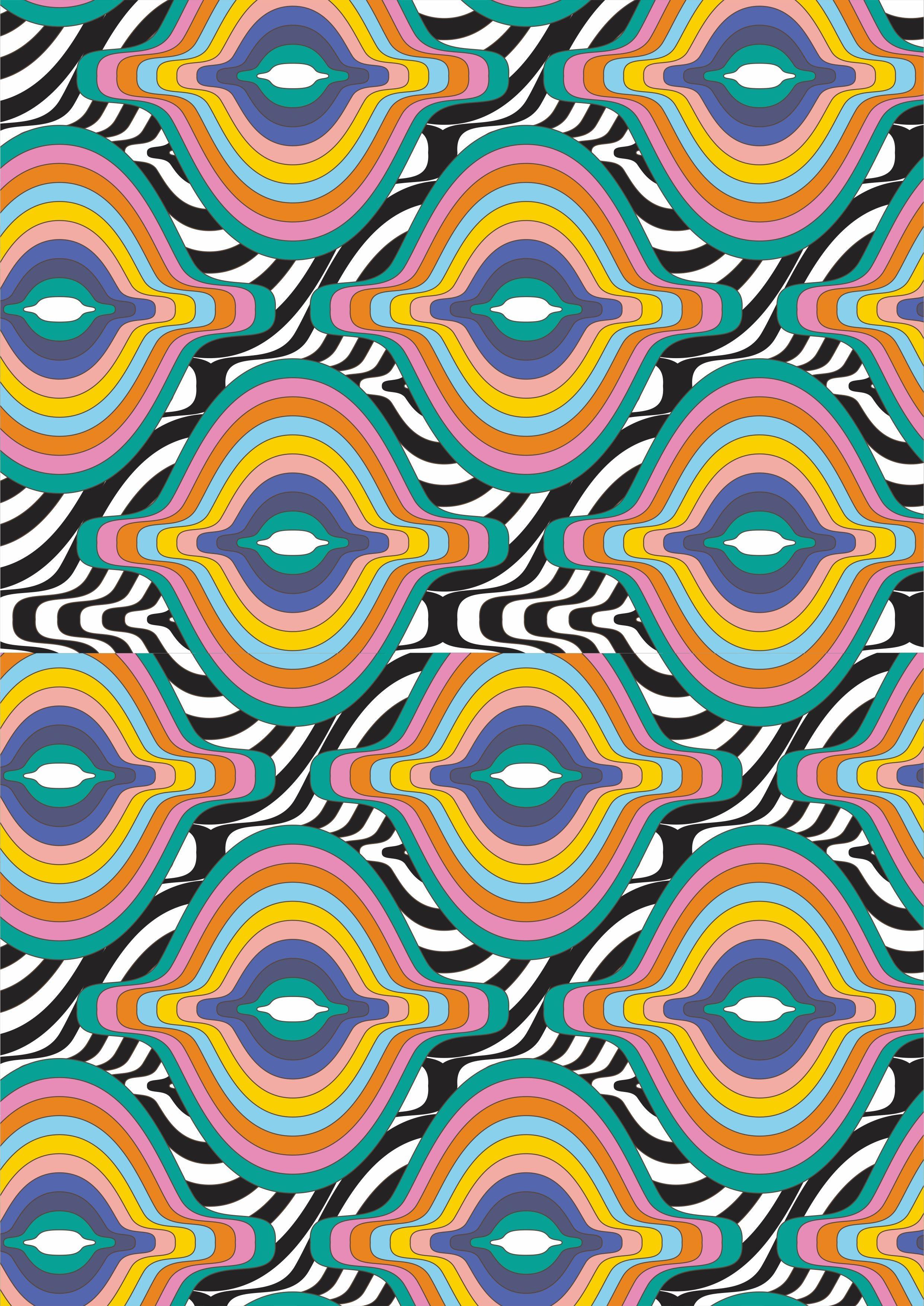 多彩几何条纹拼接矢量图服装面料数码印花花型-POP花型网