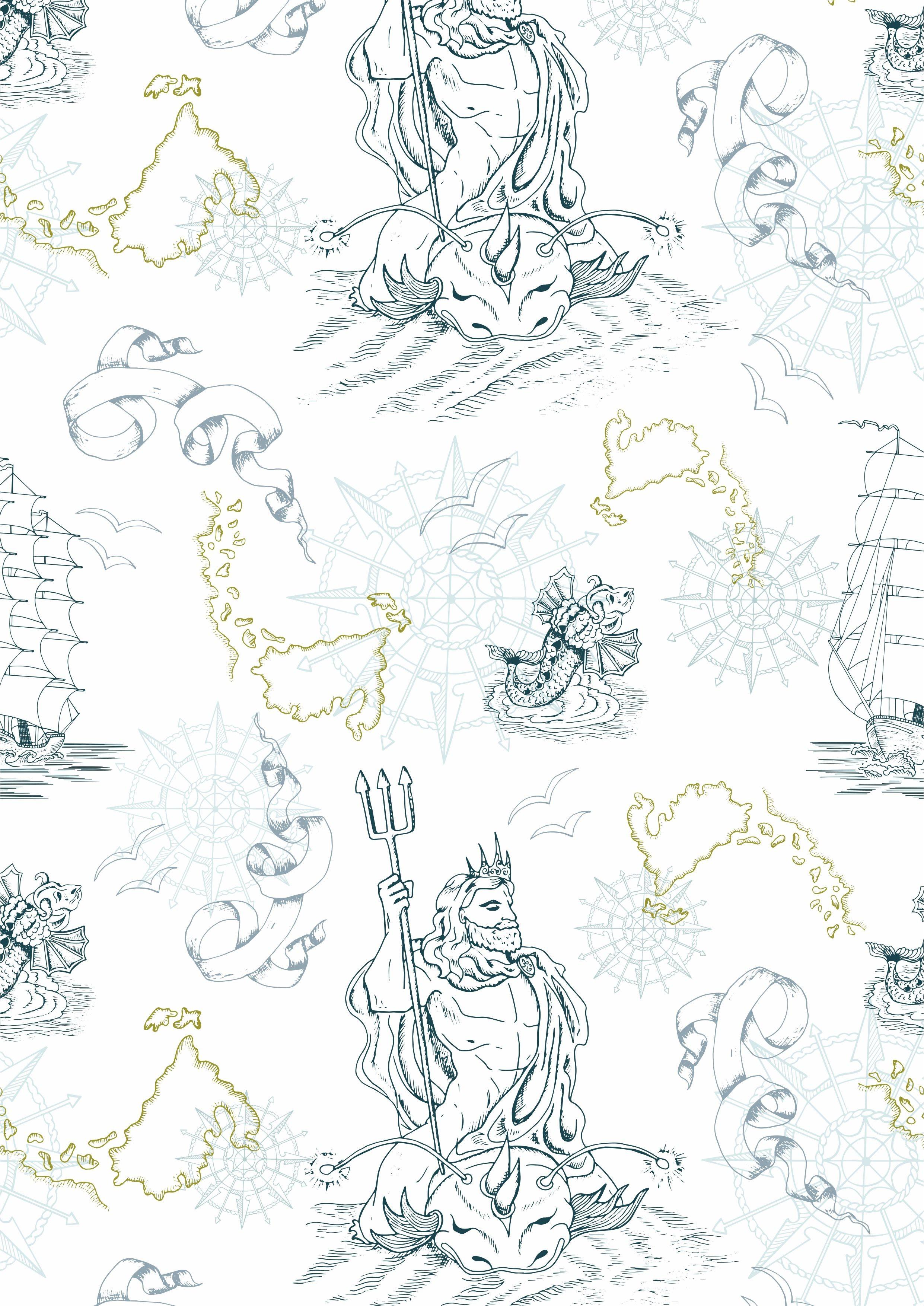 神话海神花型矢量图服装面料数码印花花型-POP花型网