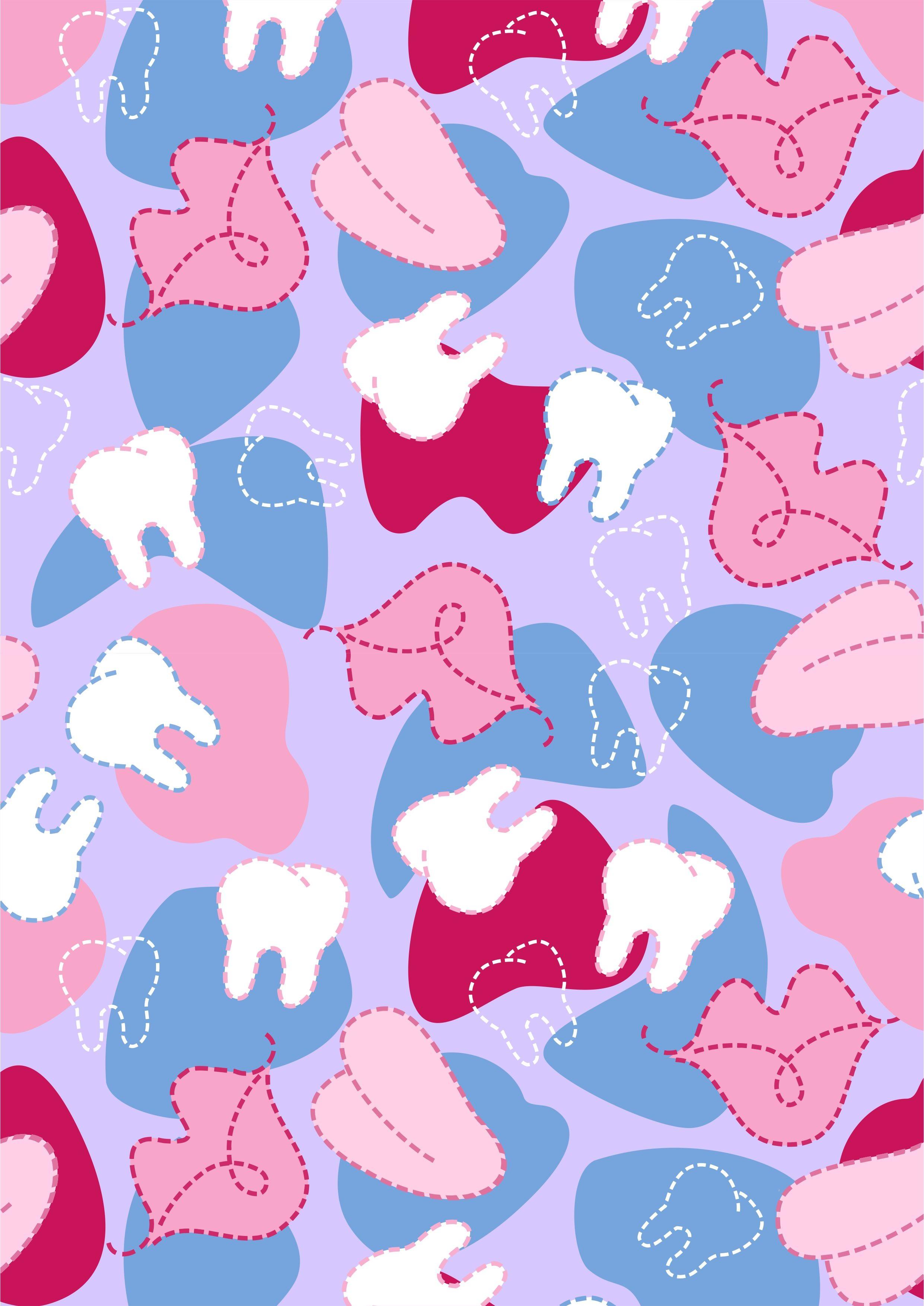 几何牙齿唇印矢量图服装数码印花花型-POP花型网
