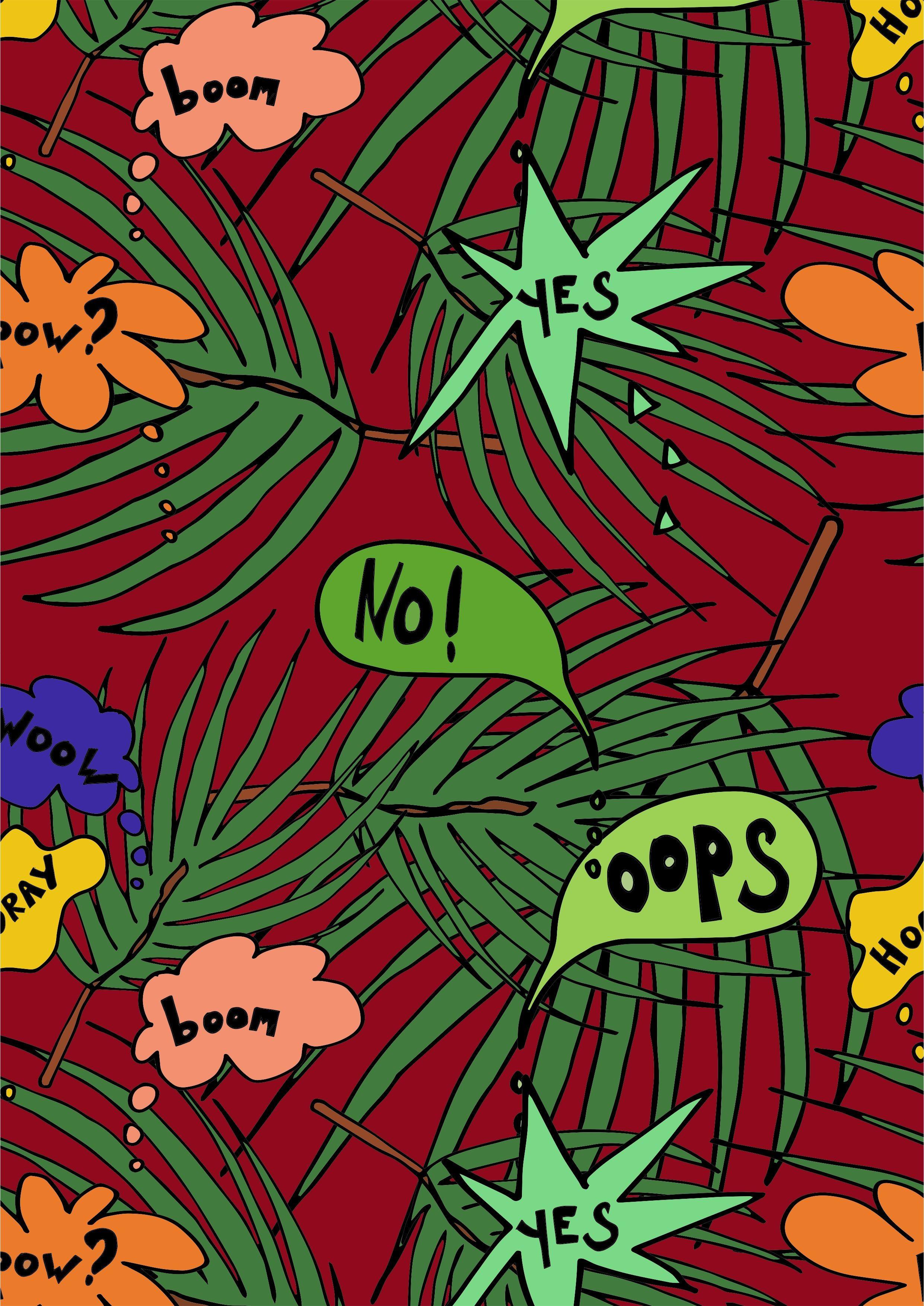 几何树叶字母矢量图服装面料数码印花花型-POP花型网