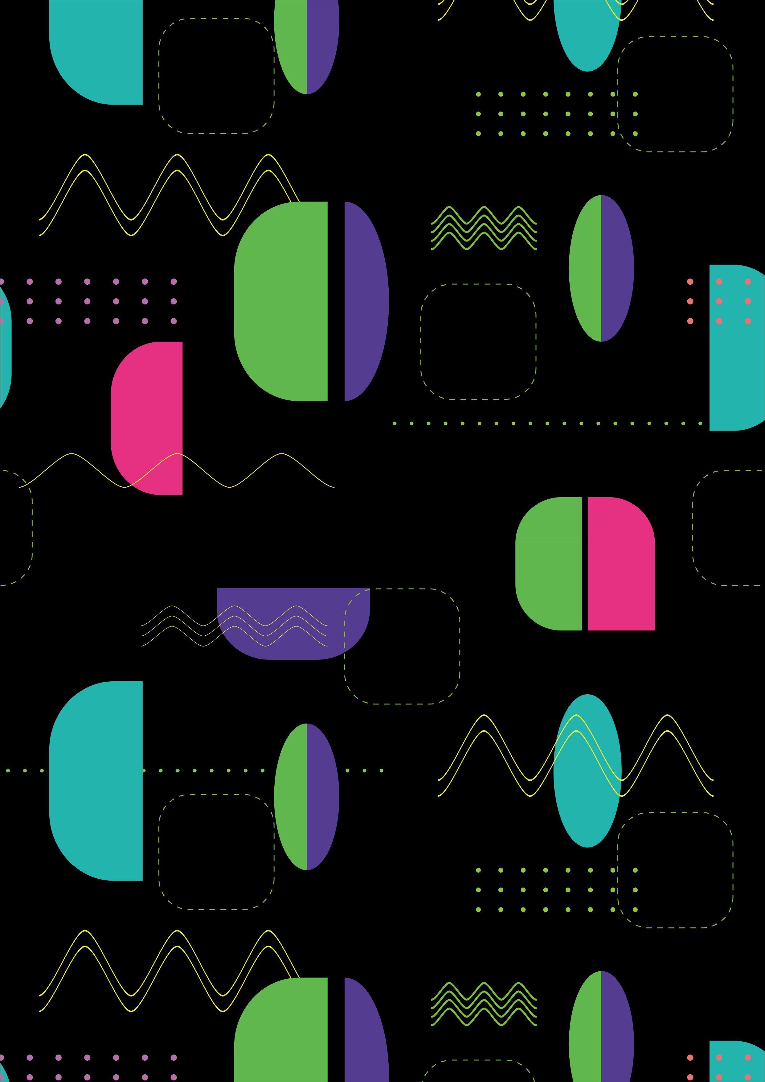 几何多彩科技风矢量图服装面料数码印花花型-POP花型网