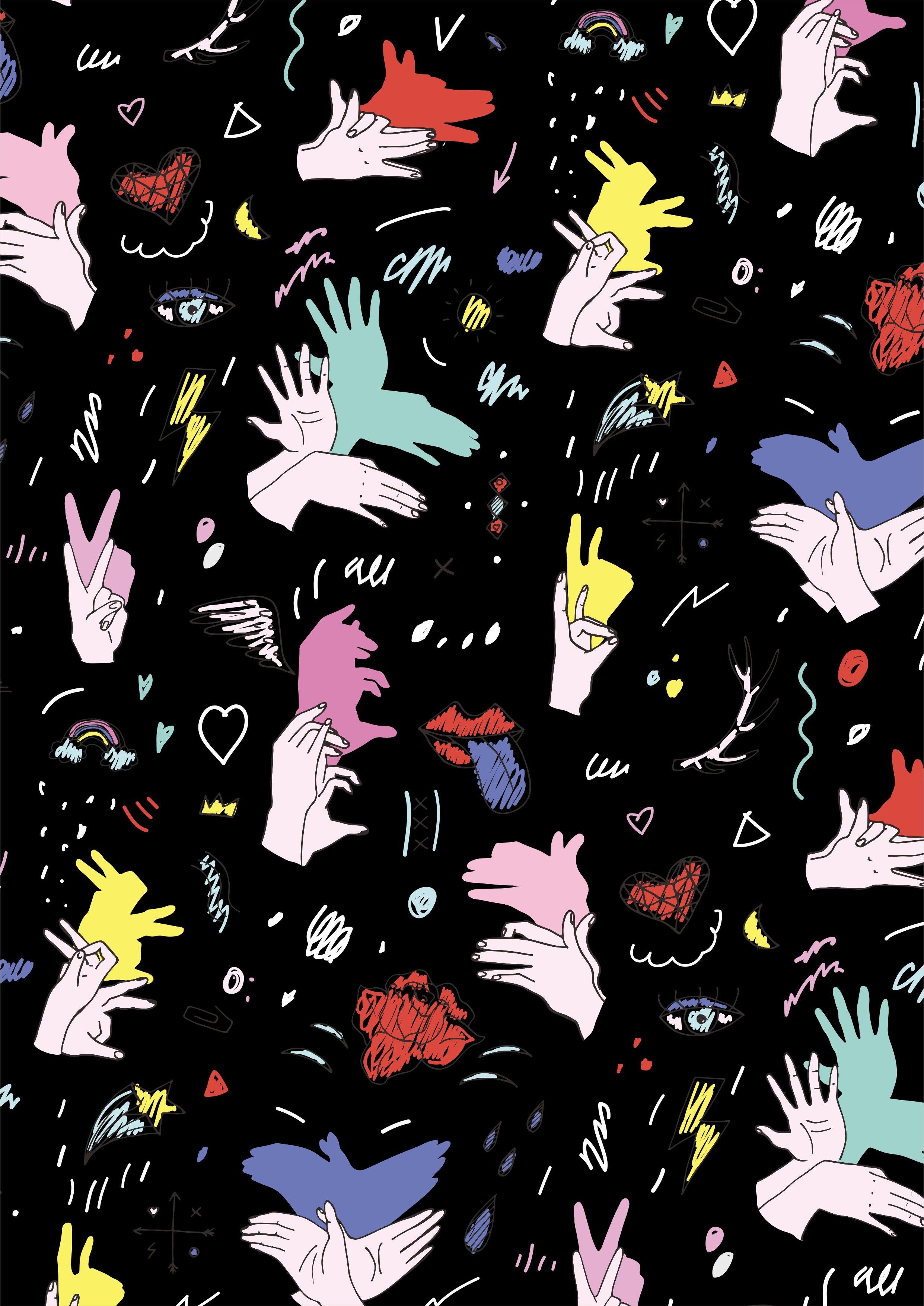 几何手掌心形手绘矢量图服装面料数码印花花型-POP花型网