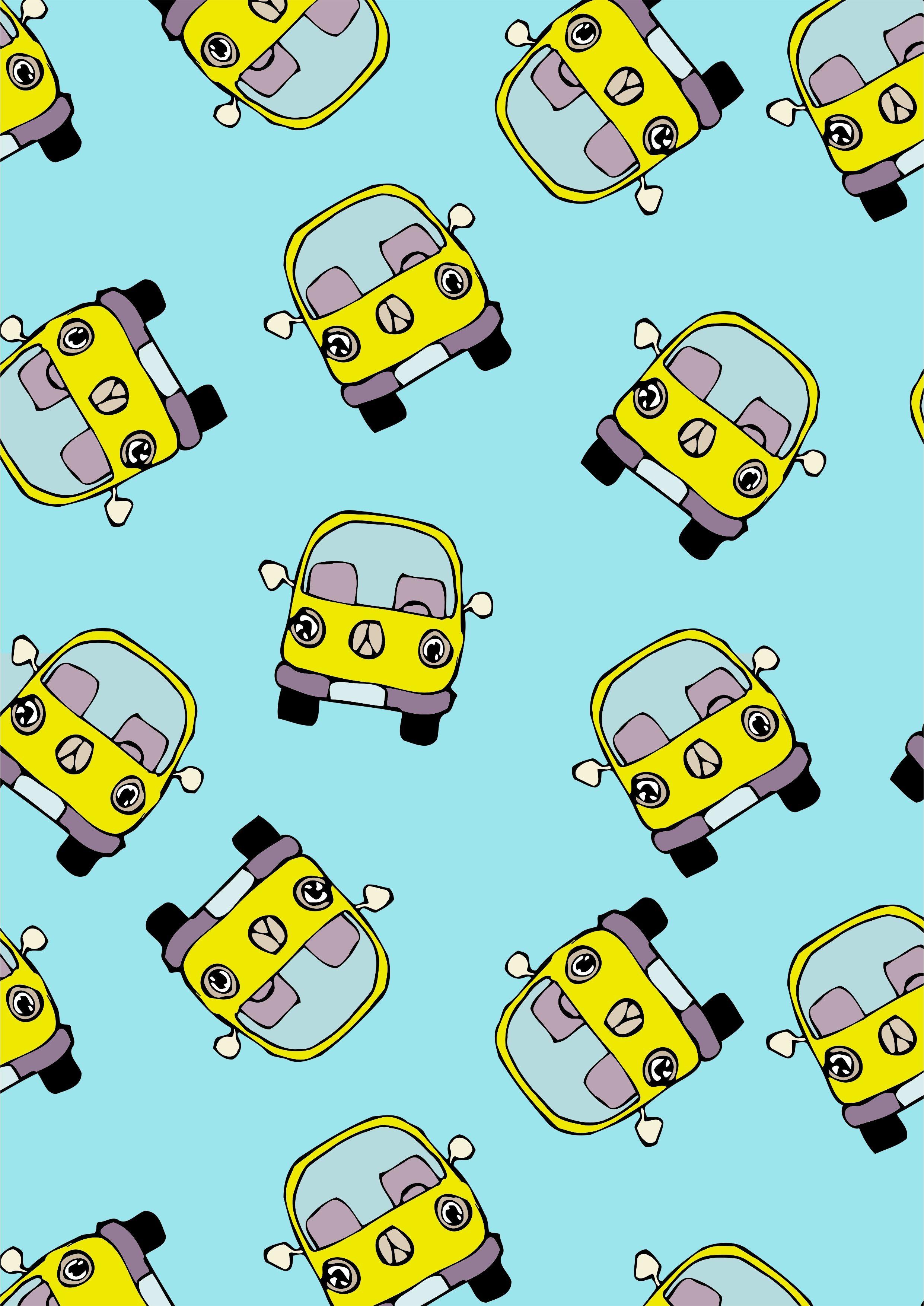 儿童卡通小汽车巴士矢量图服装面料数码印花花型-POP花型网