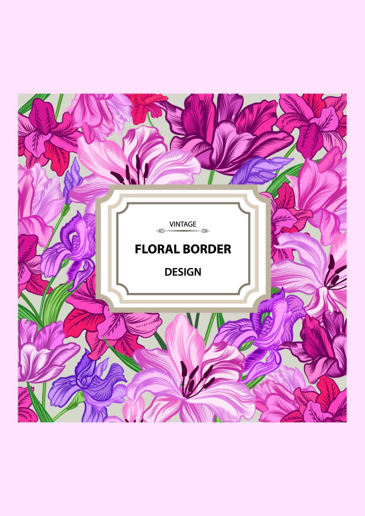 花卉字母矢量图服装裁片T恤印花花型-POP花型网