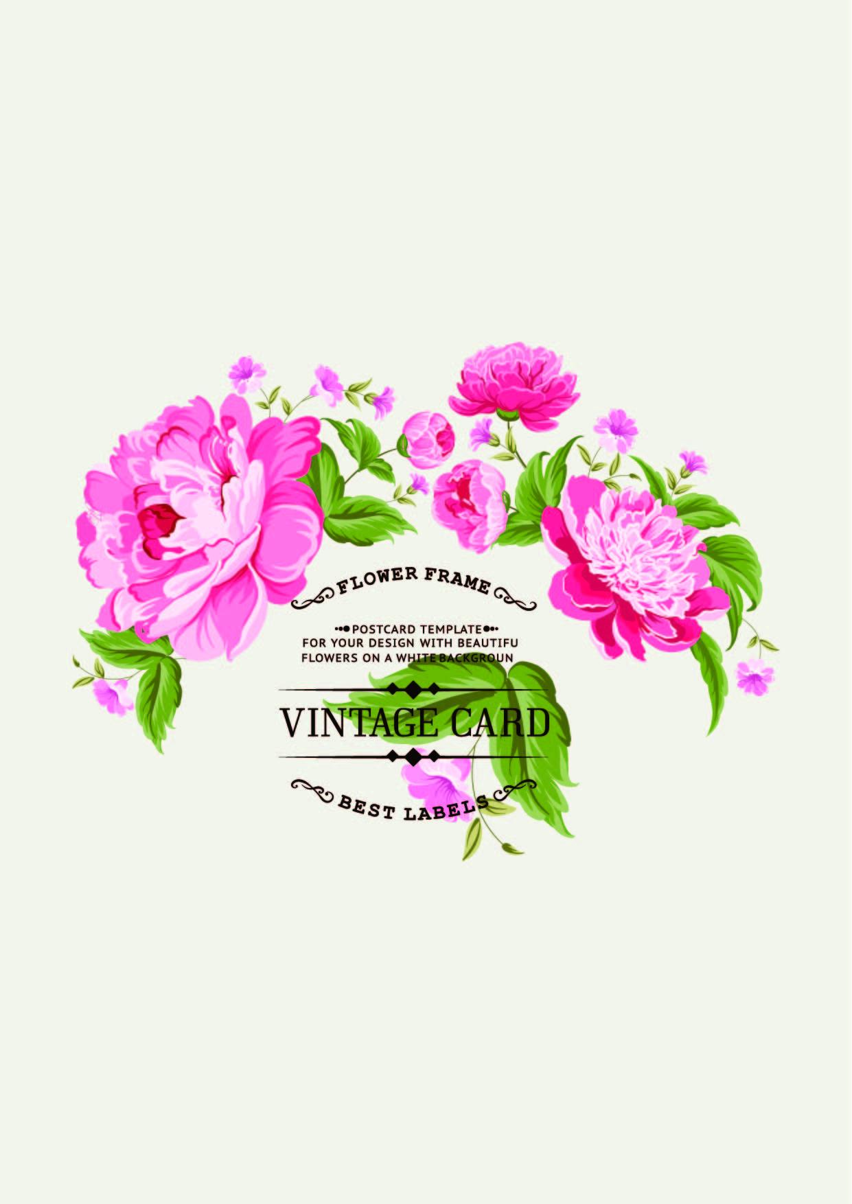 粉红色牡丹花卉字母矢量图服装裁片T恤印花素材-POP花型网
