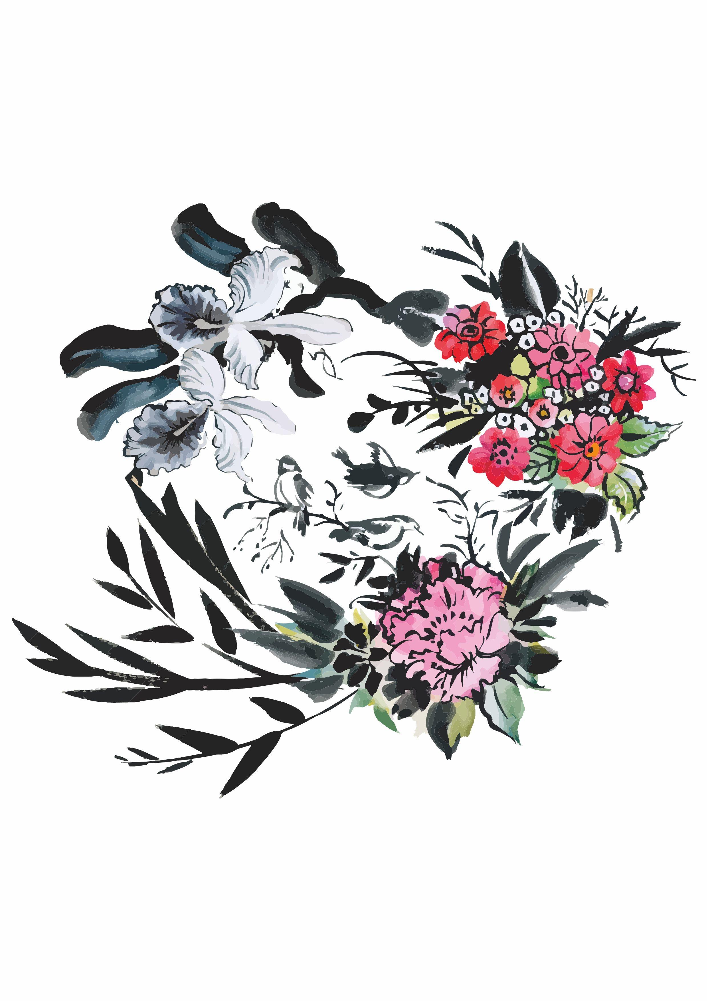 水墨植物花卉矢量图服装裁片T恤烫图印花花型-POP花型网