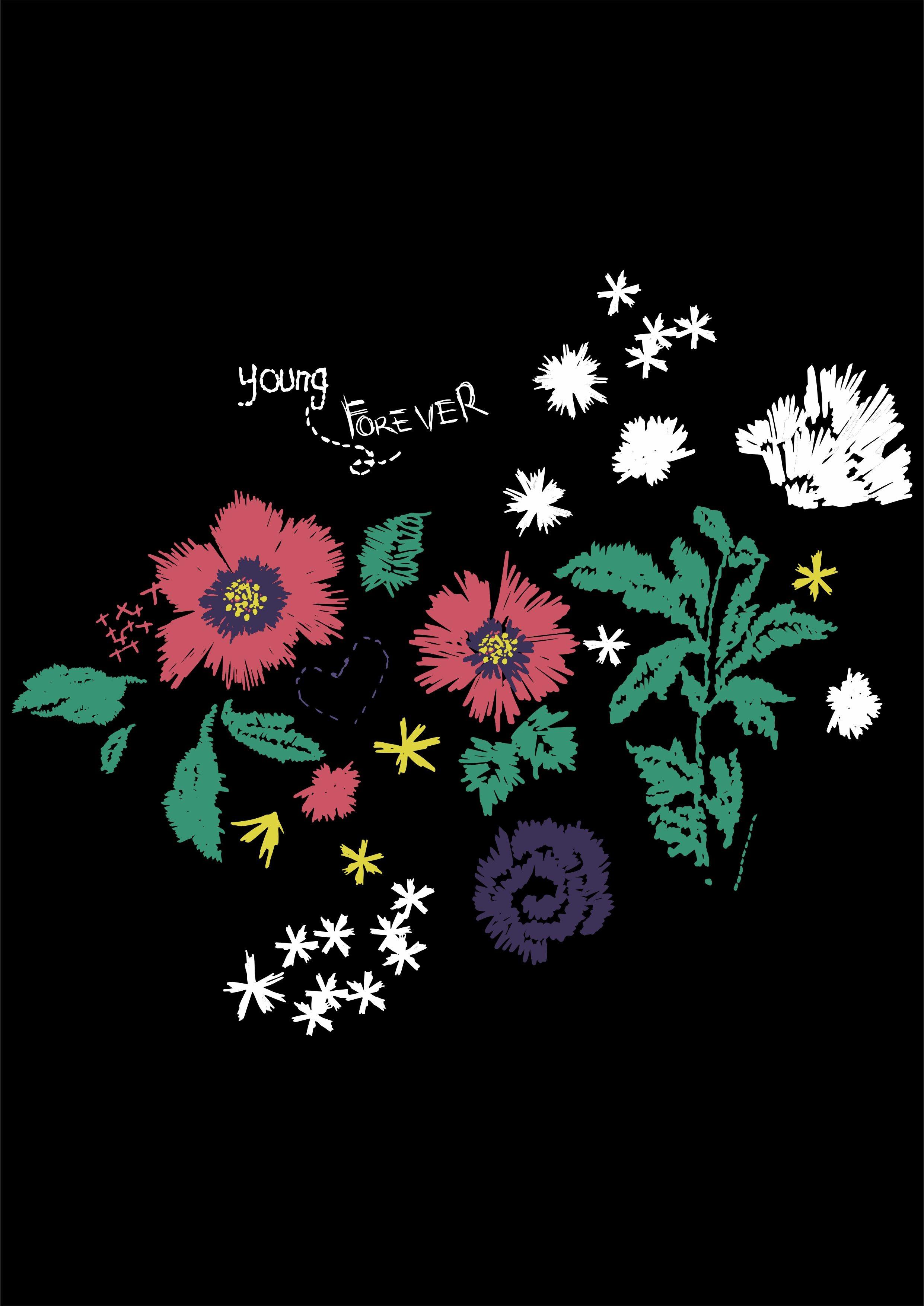 花卉字母矢量图服装素材裁片T恤烫图花型-POP花型网