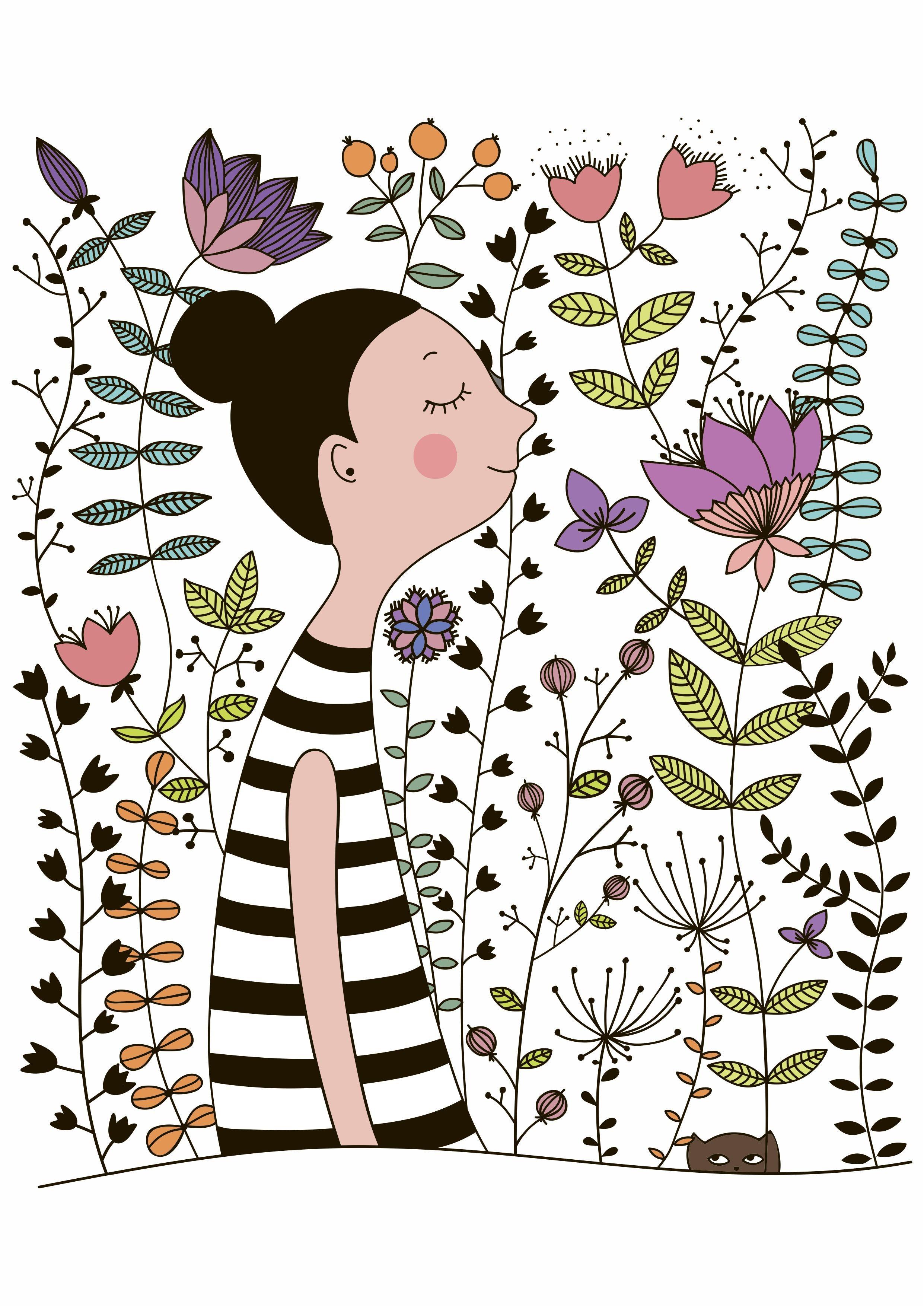 卡通人物植物花卉矢量图服装裁片T恤烫图素材-POP花型网