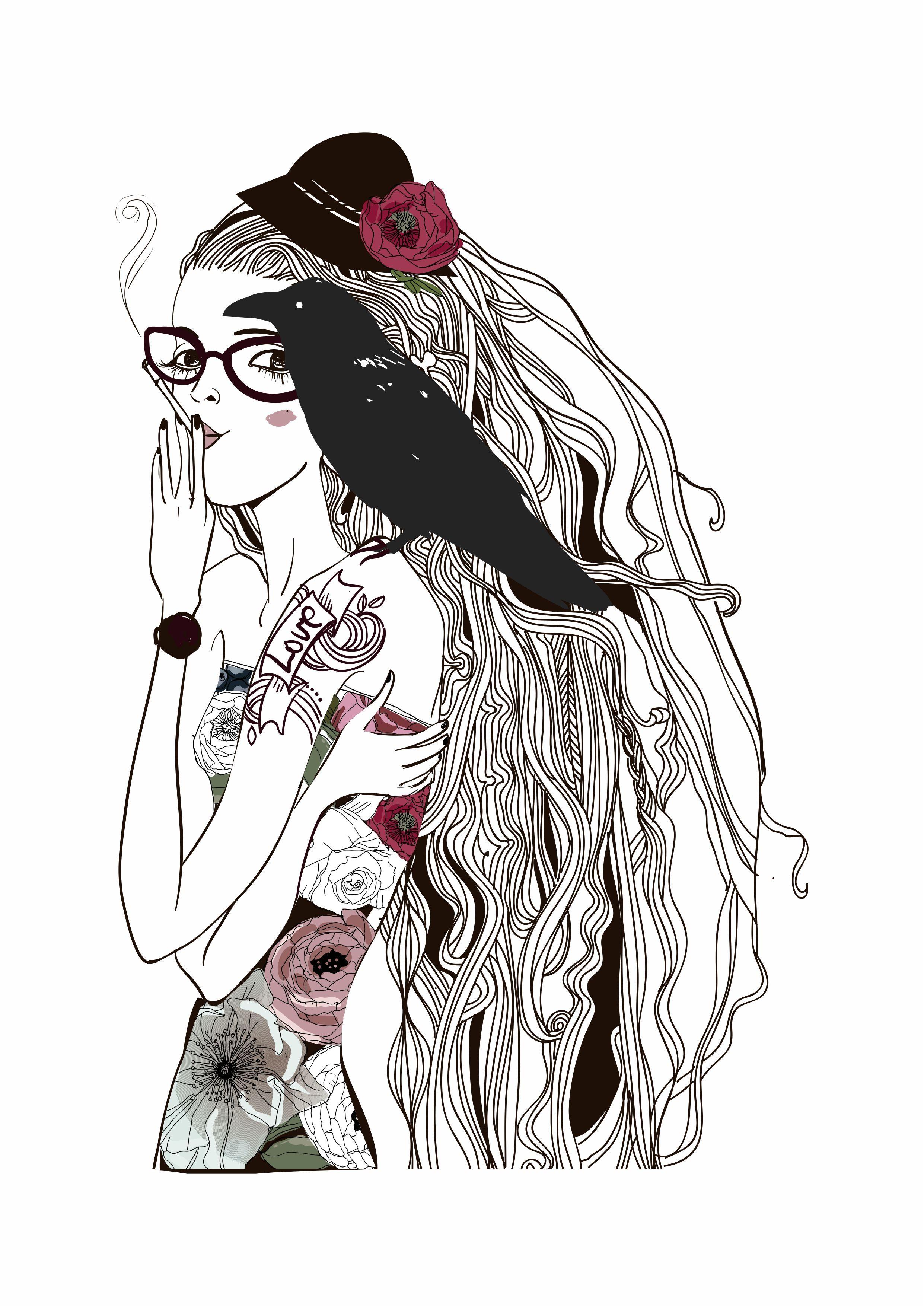 卡通人物乌鸦字母玫瑰花矢量图服装裁片T恤烫图素材-POP花型网