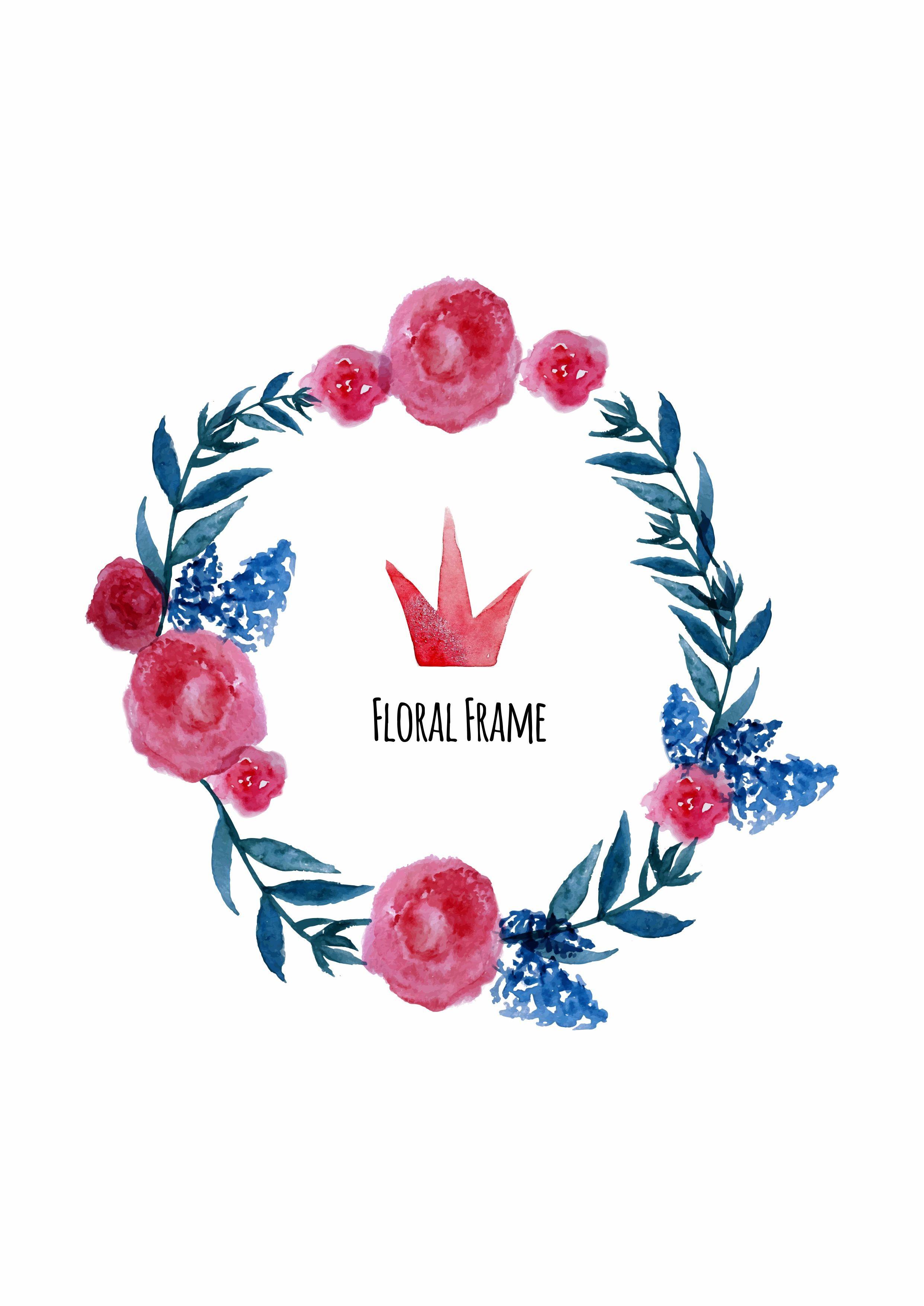 水彩植物花卉字母皇冠矢量图服装裁片T恤烫图印花素材-POP花型网