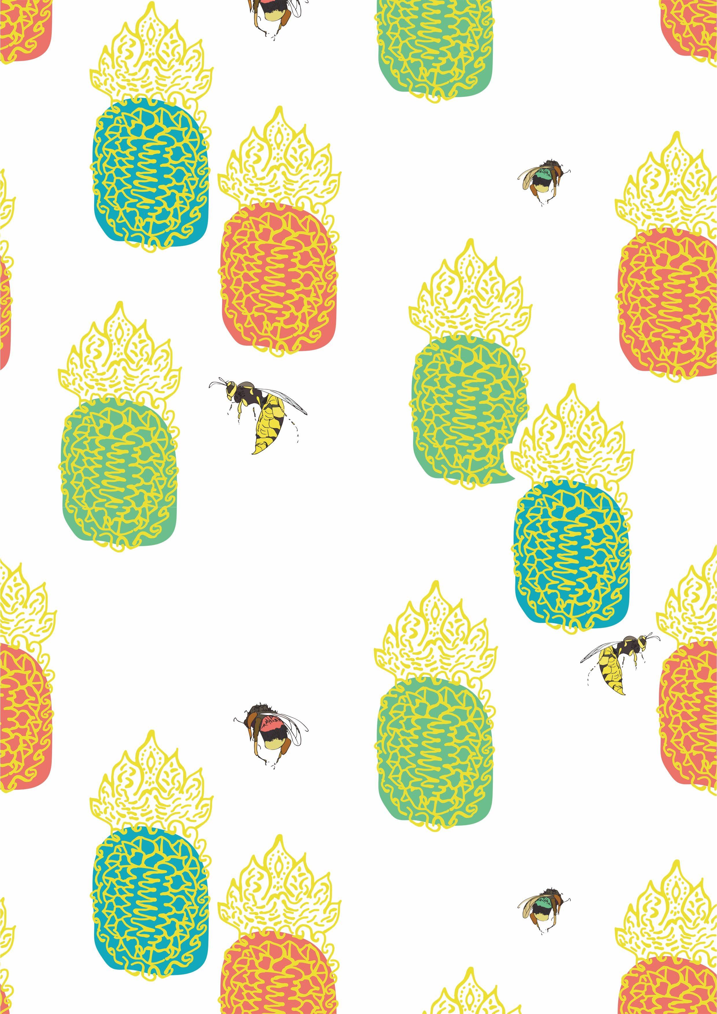 蜜蜂几何菠萝矢量图服装面料数码印花花型素材-POP花型网