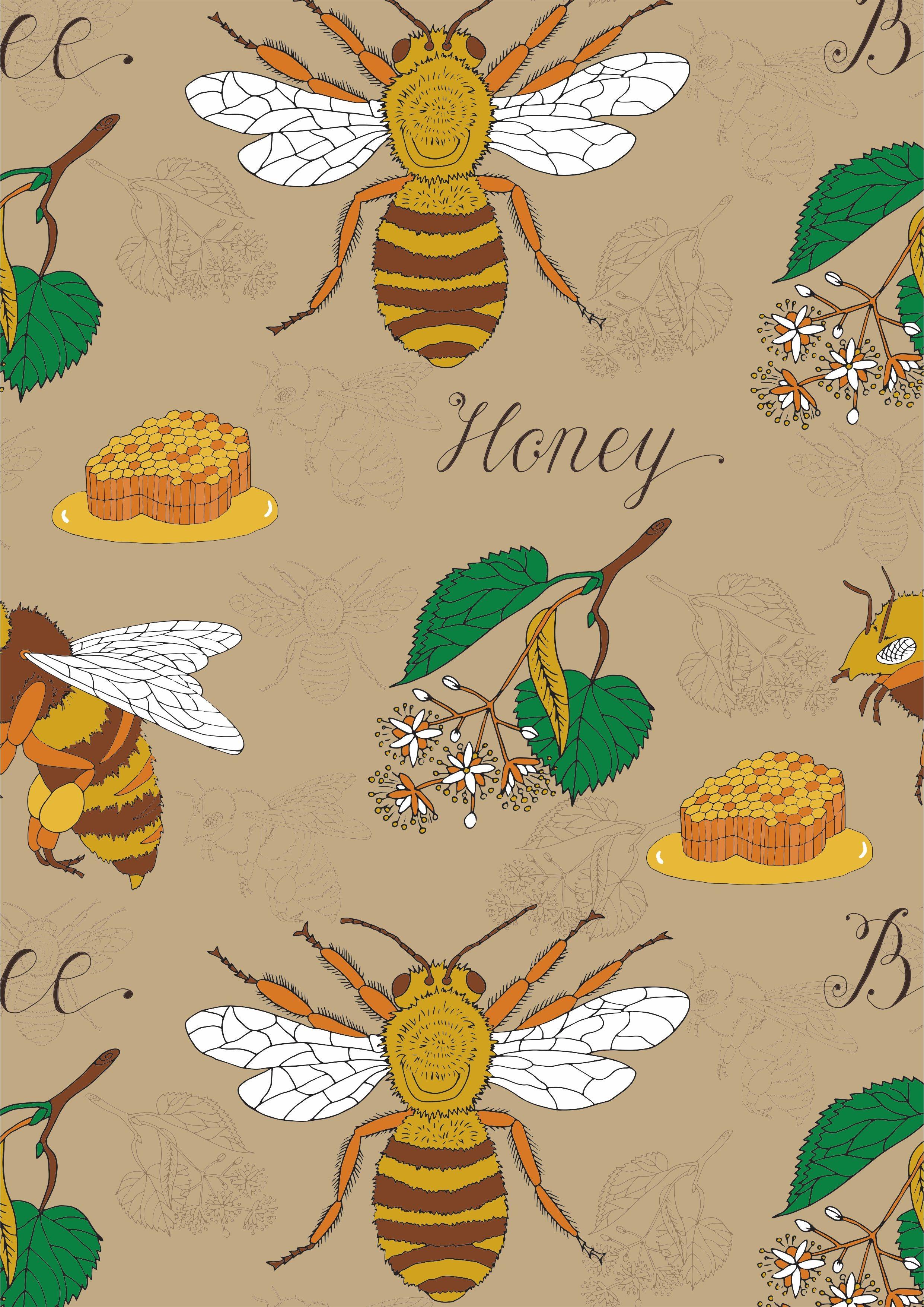 昆虫蜜蜂叶子字母矢量图服装面料数码印花素材-POP花型网