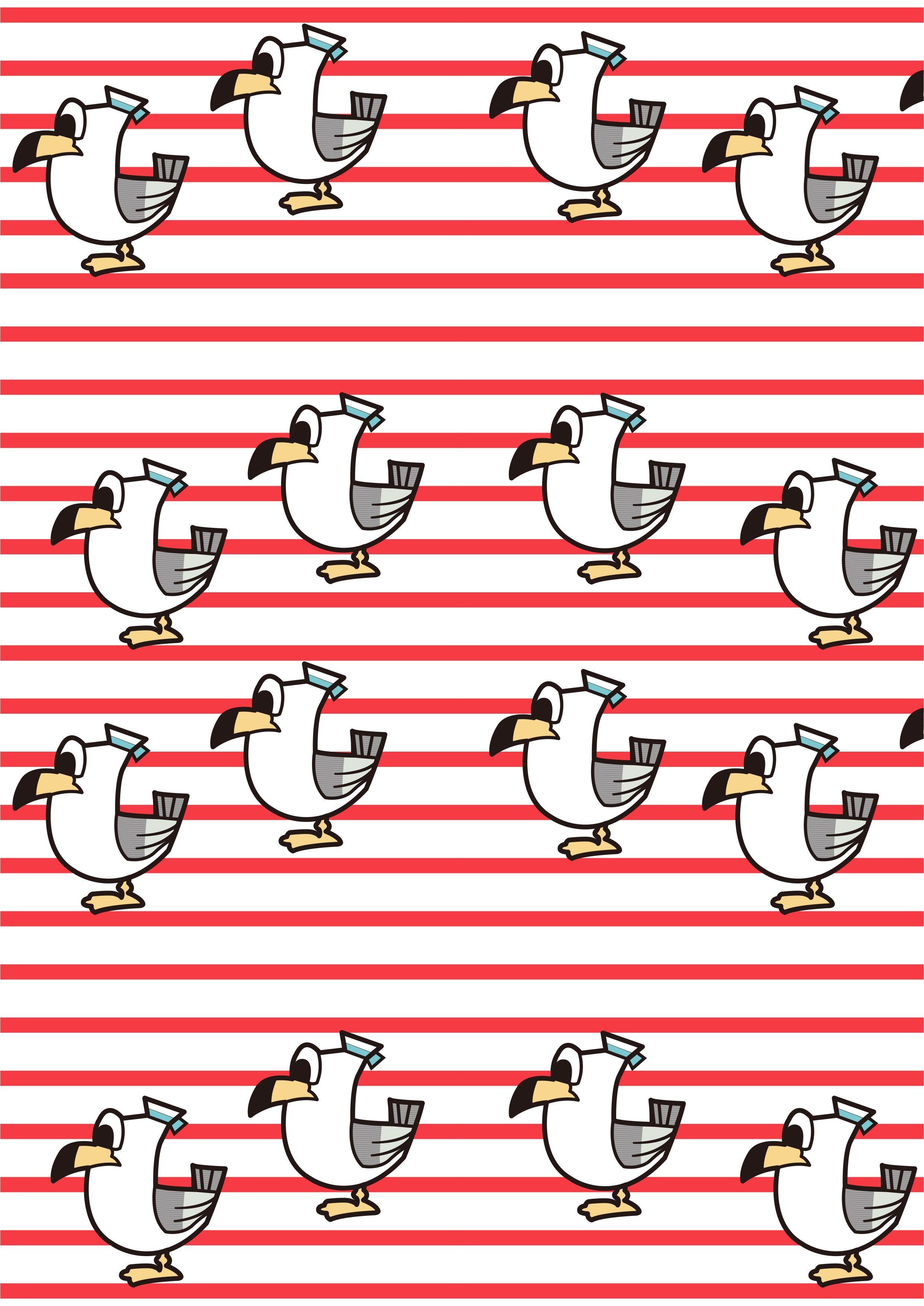 条子海鸥海军风矢量图服装面料数码印花花型-POP花型网