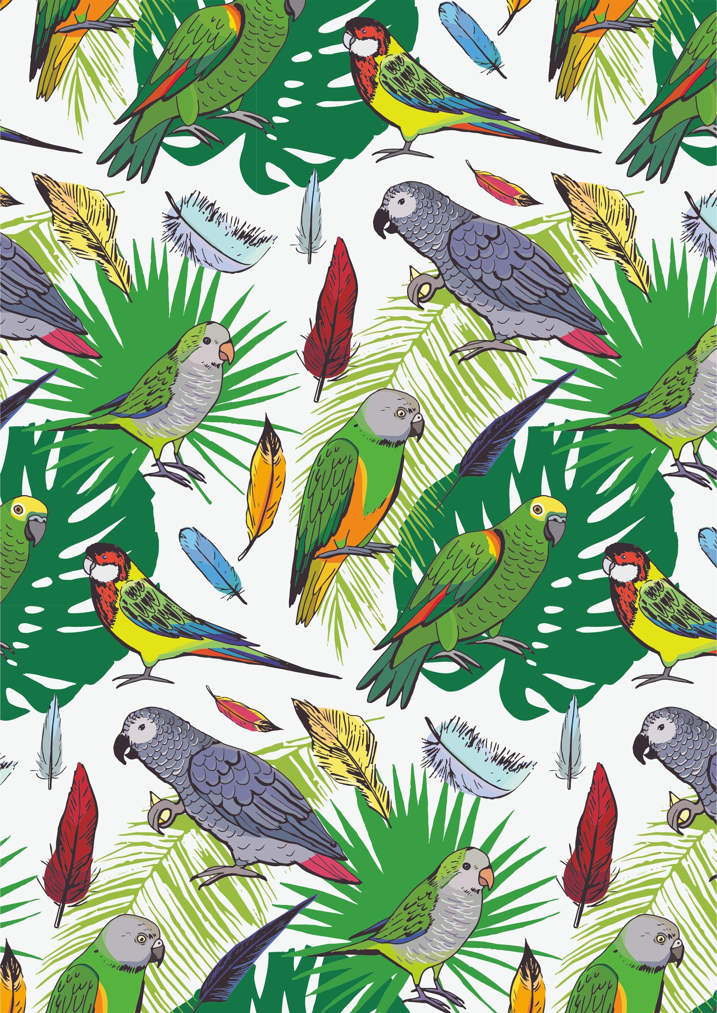 几何鹦鹉植物叶子矢量图热带风服装面料数码印花花型-POP花型网