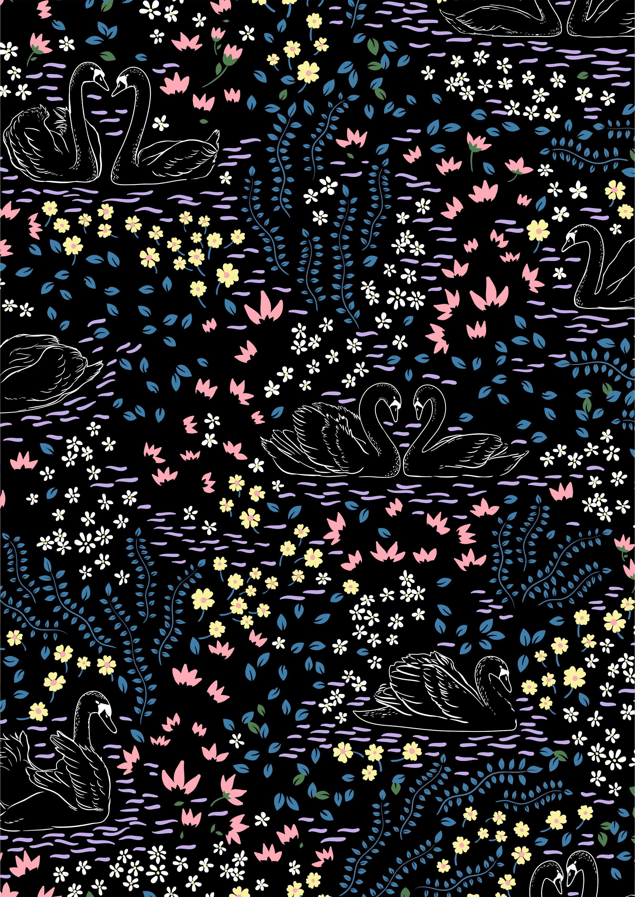 几何花卉叶子天鹅图案矢量图服装面料数码印花素材-POP花型网