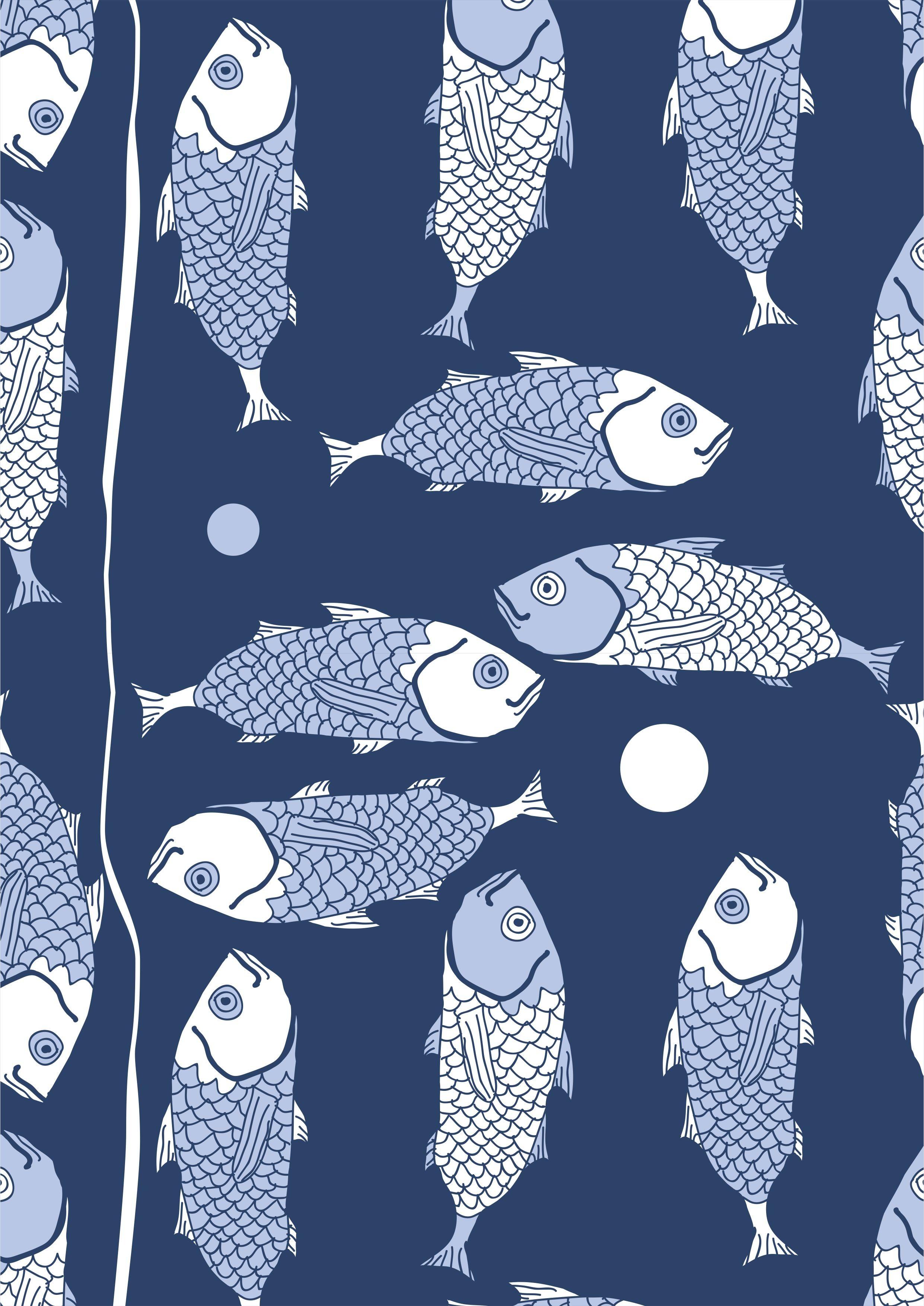 鱼类矢量图服装印花素材数码印花花型-POP花型网