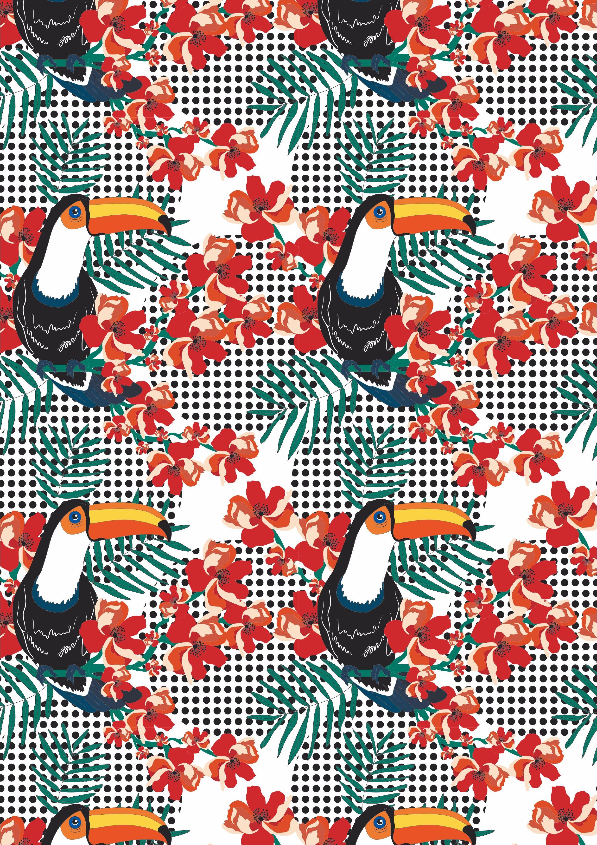 巨嘴鸟植物花朵矢量图服装面料数码印花花型素材-POP花型网