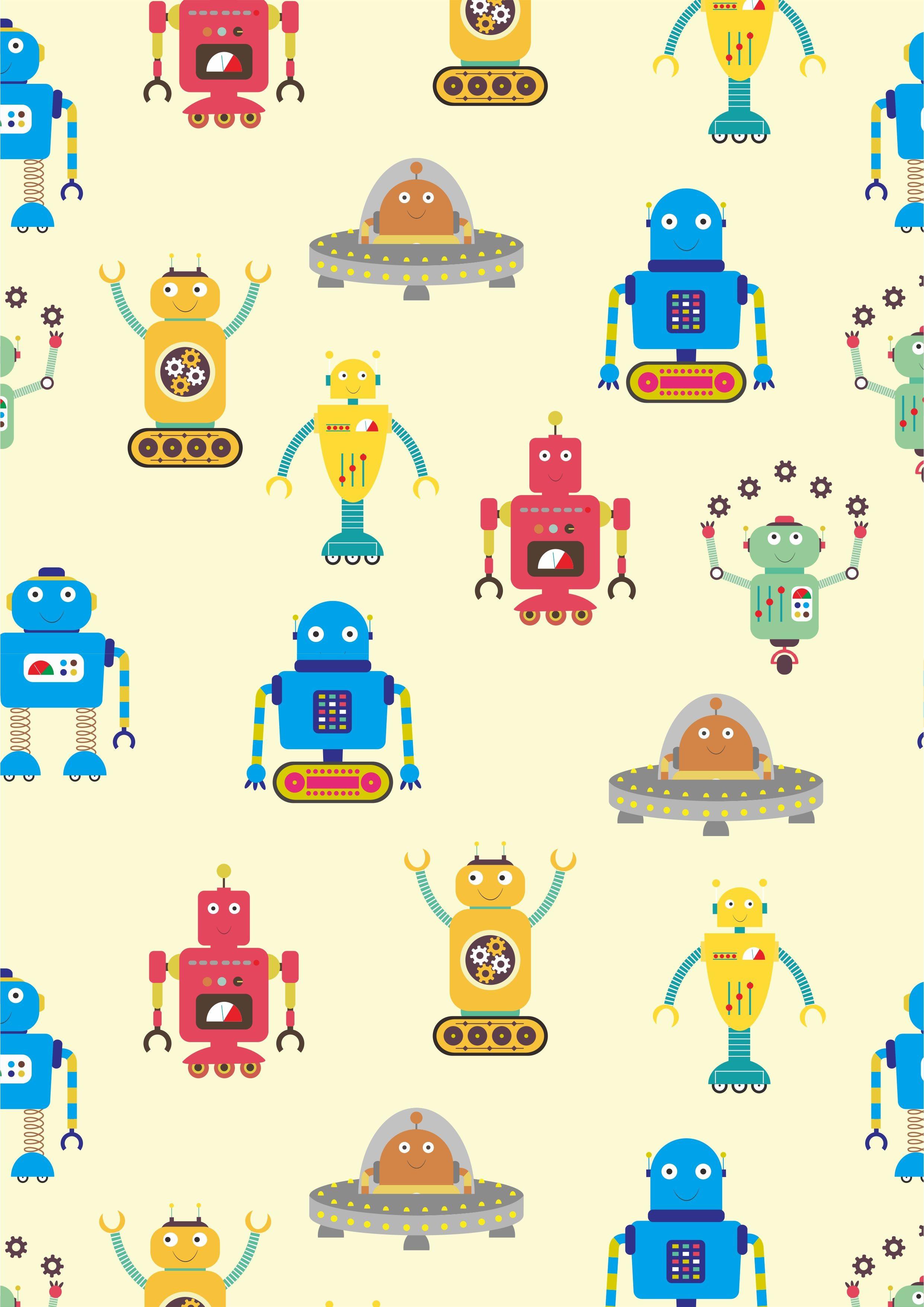儿童几何卡通机器人矢量图服装面料数码印花花型素材-POP花型网