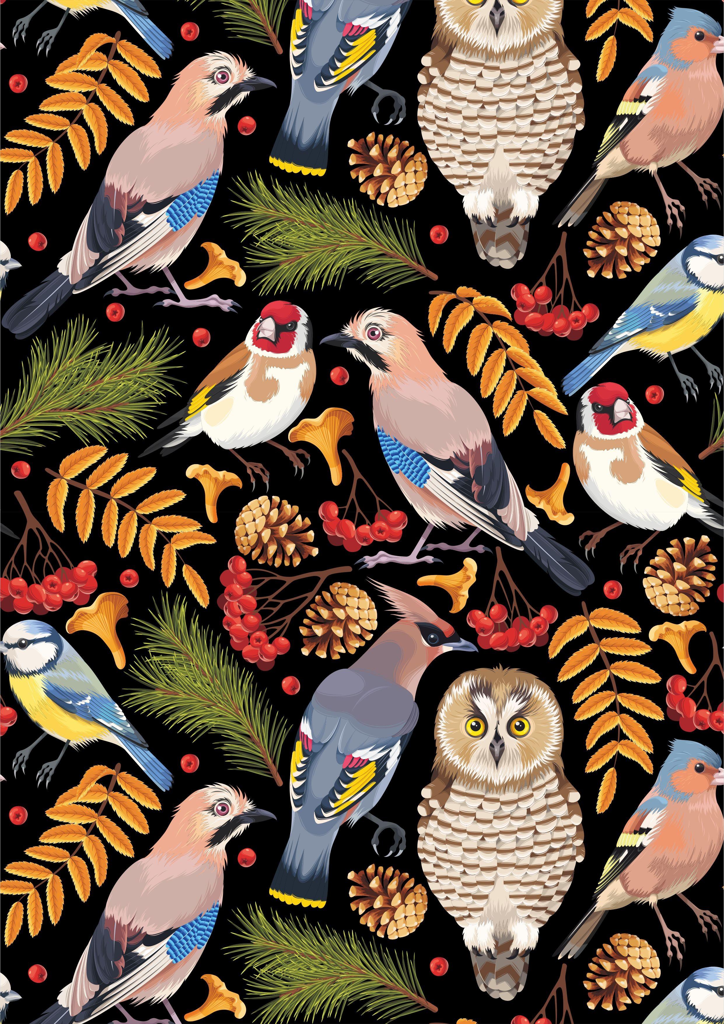 飞鸟猫头鹰矢量图服装面料数码印花花型素材-POP花型网