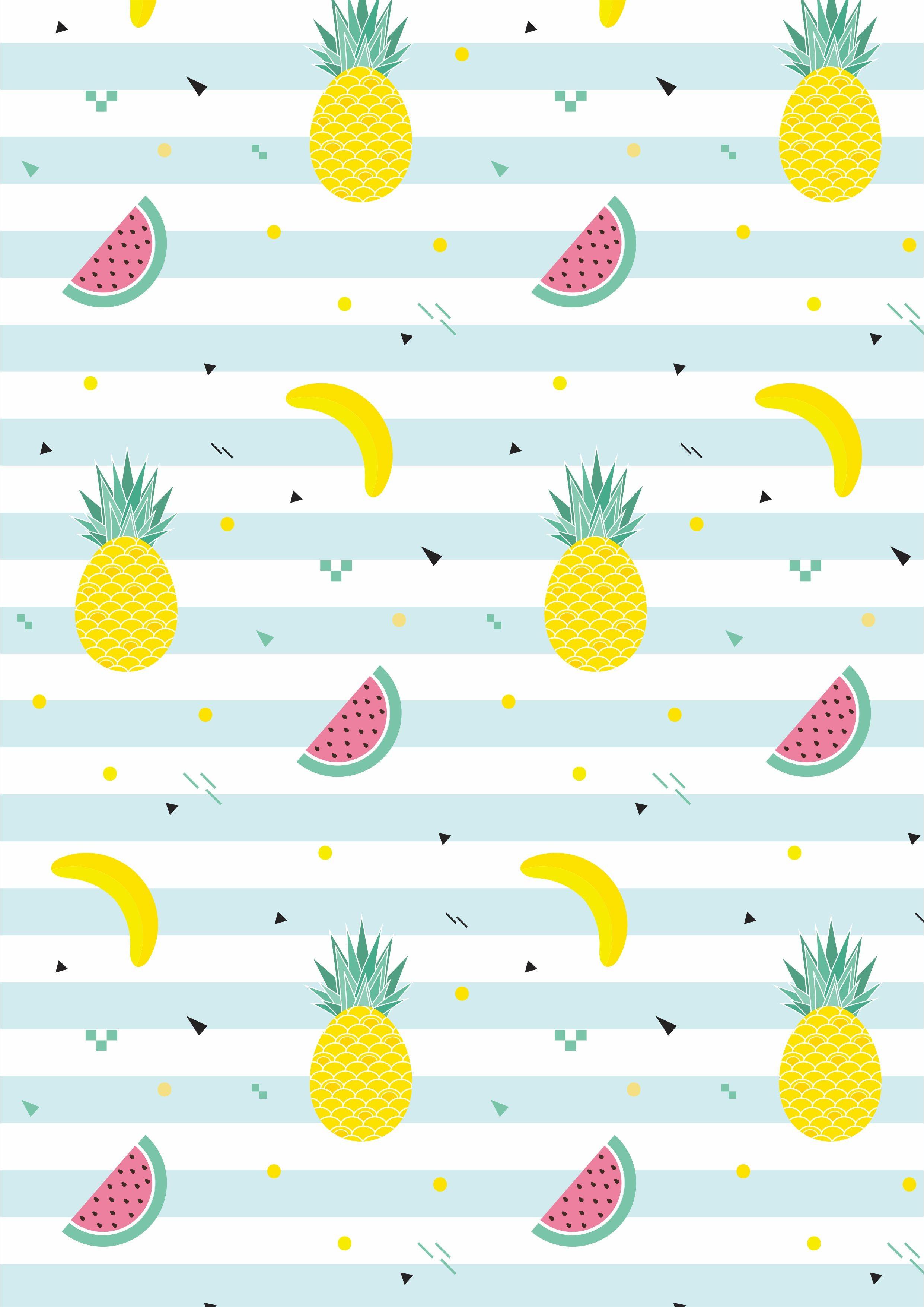水果西瓜菠萝香蕉矢量图条子服装面料数码印花花型素材-POP花型网