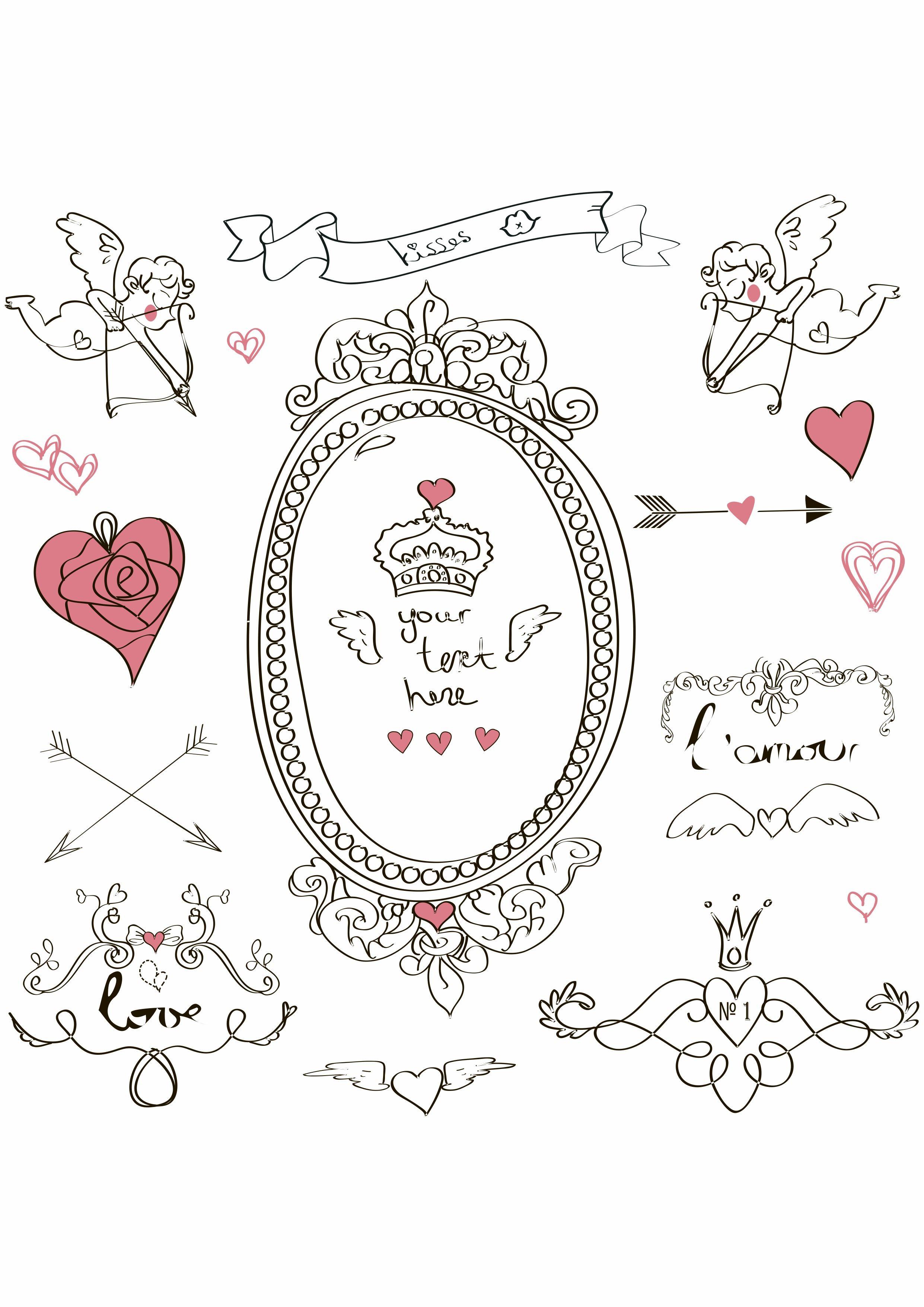 卡通几何心形丘比特矢量图服装裁片烫图T恤印花花型素材-POP花型网