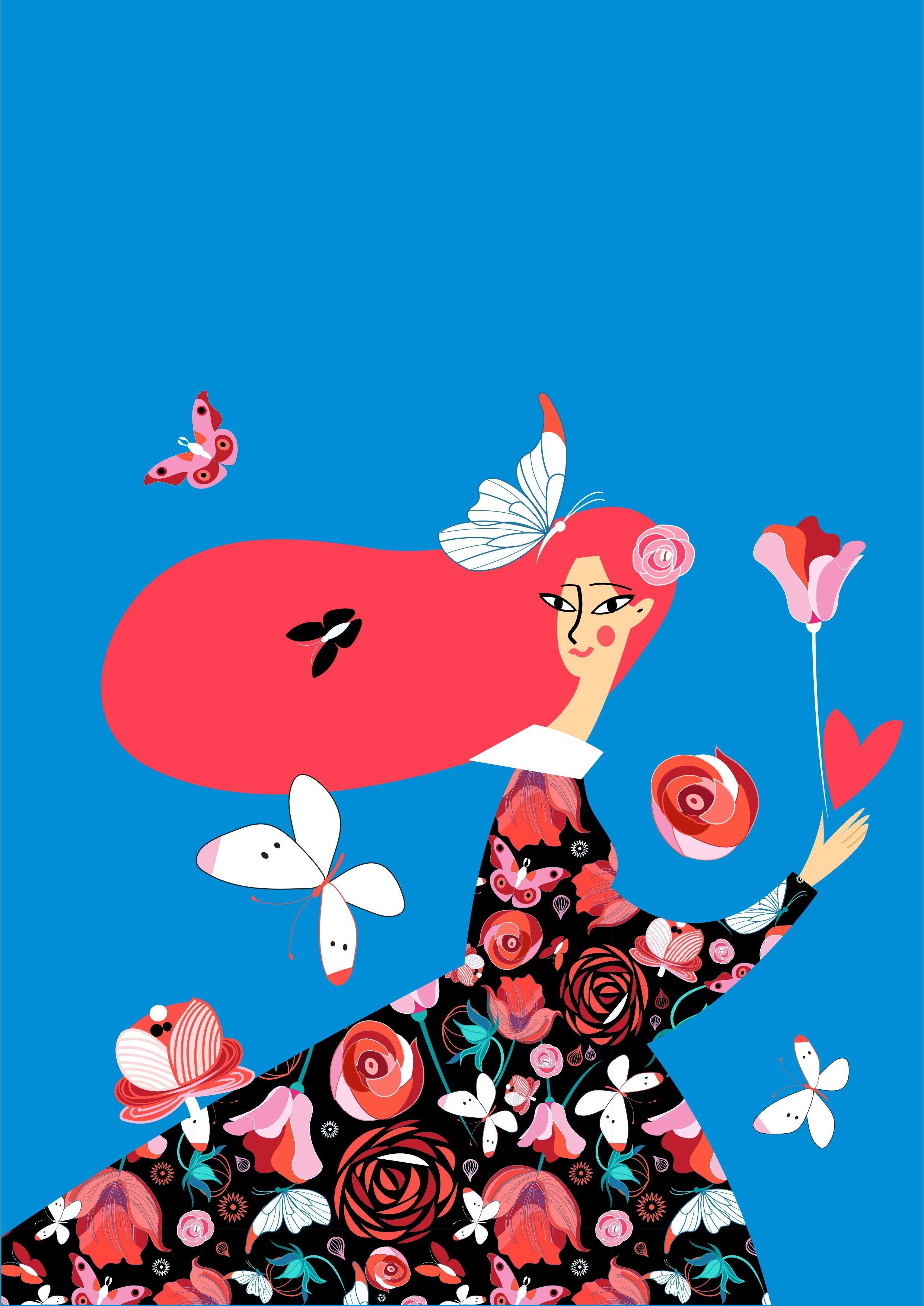 几何动漫人物花朵蝴蝶矢量图服装裁片T恤烫图素材-POP花型网