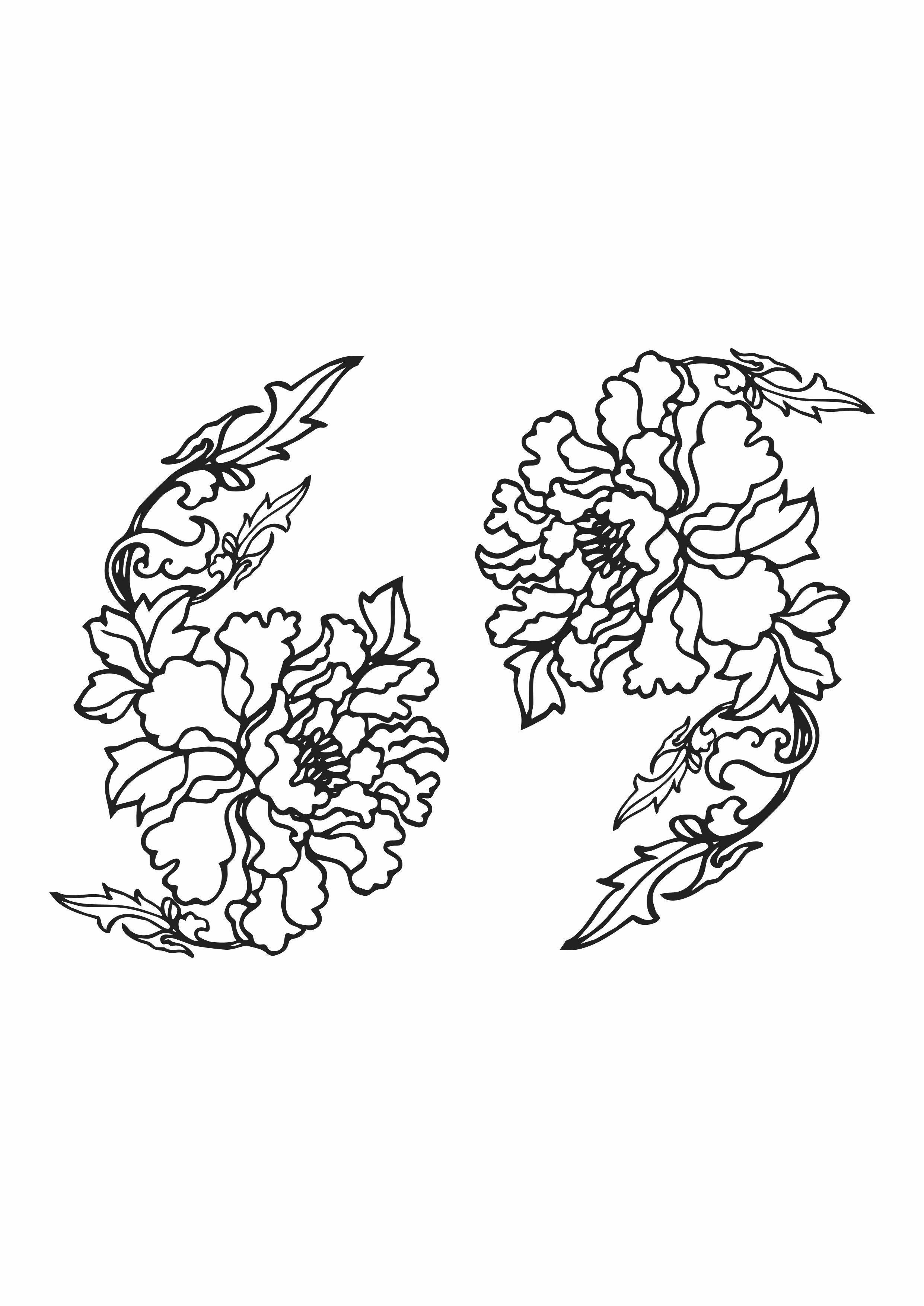 几何花卉矢量图植物服装裁片T恤烫图花型素材-POP花型网