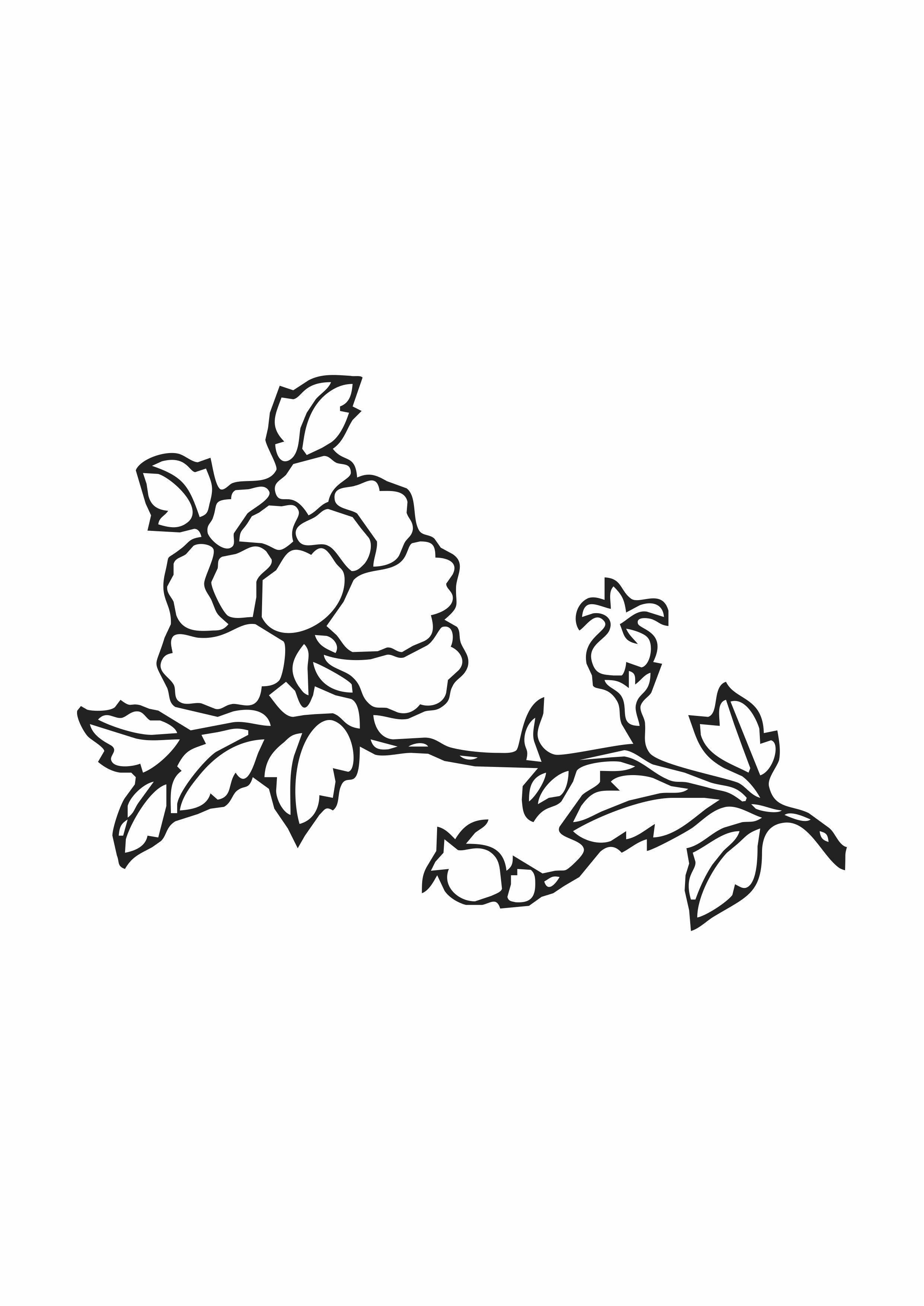 黑白几何花卉矢量图服装花型印花素材-POP花型网