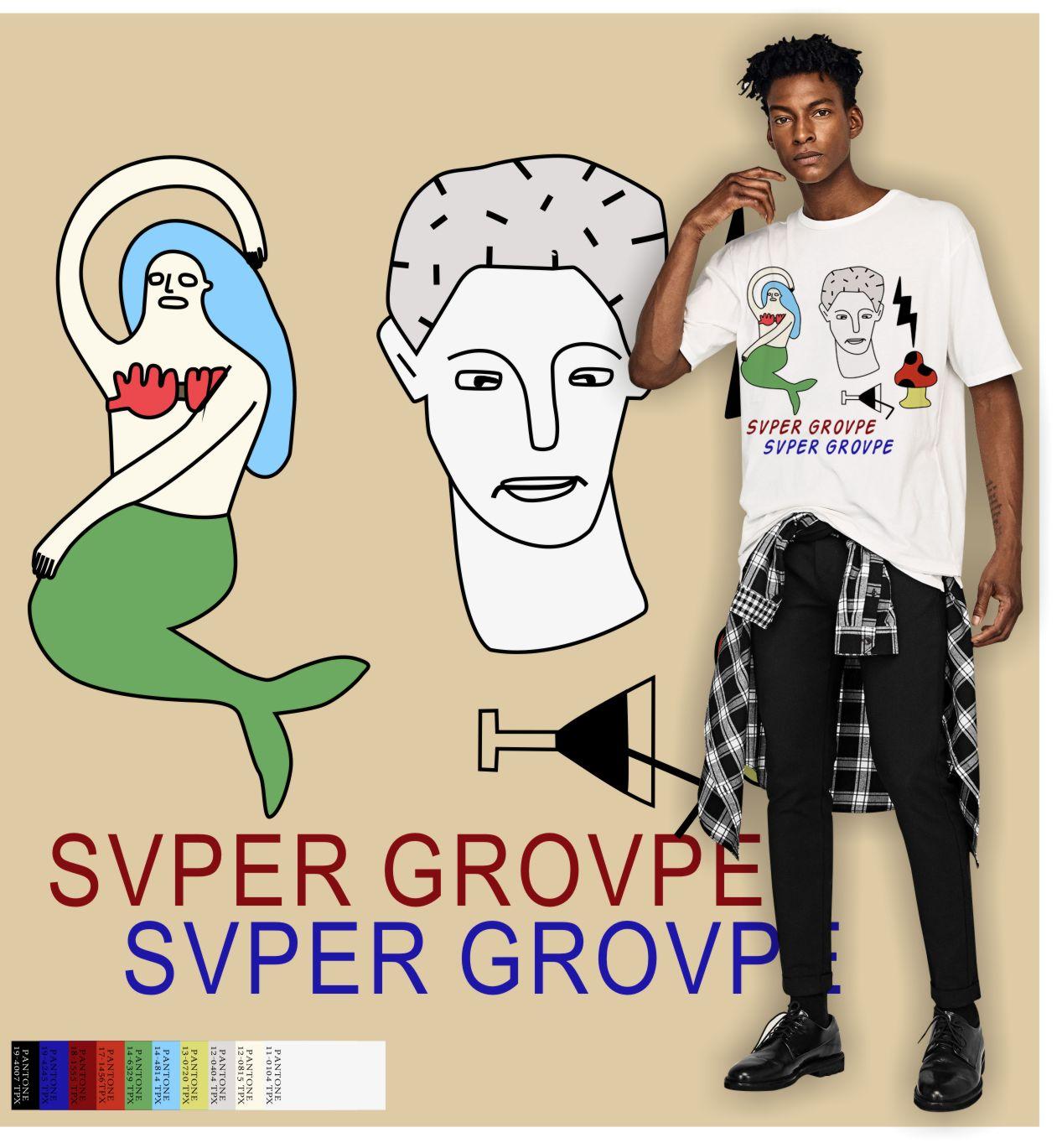 几何卡通人物美人鱼矢量图服装裁片T恤烫图印花素材-POP花型网