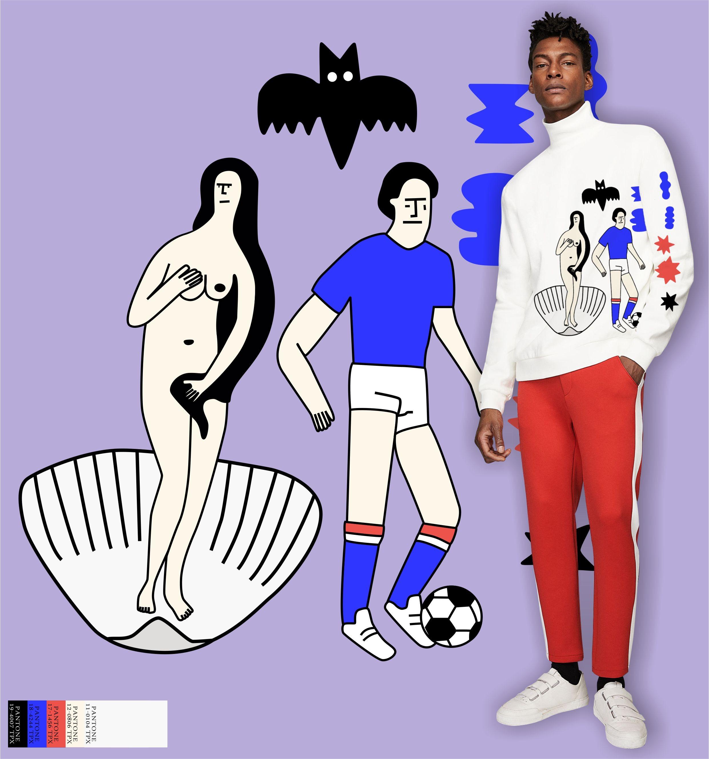 几何卡通人物贝壳蝙蝠矢量图服装裁片T恤烫图印花素材-POP花型网