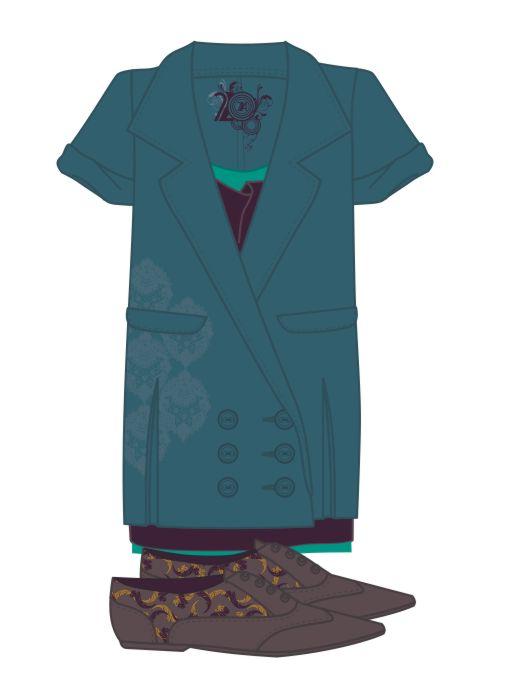 女士长款外套设计手稿矢量图-POP花型网
