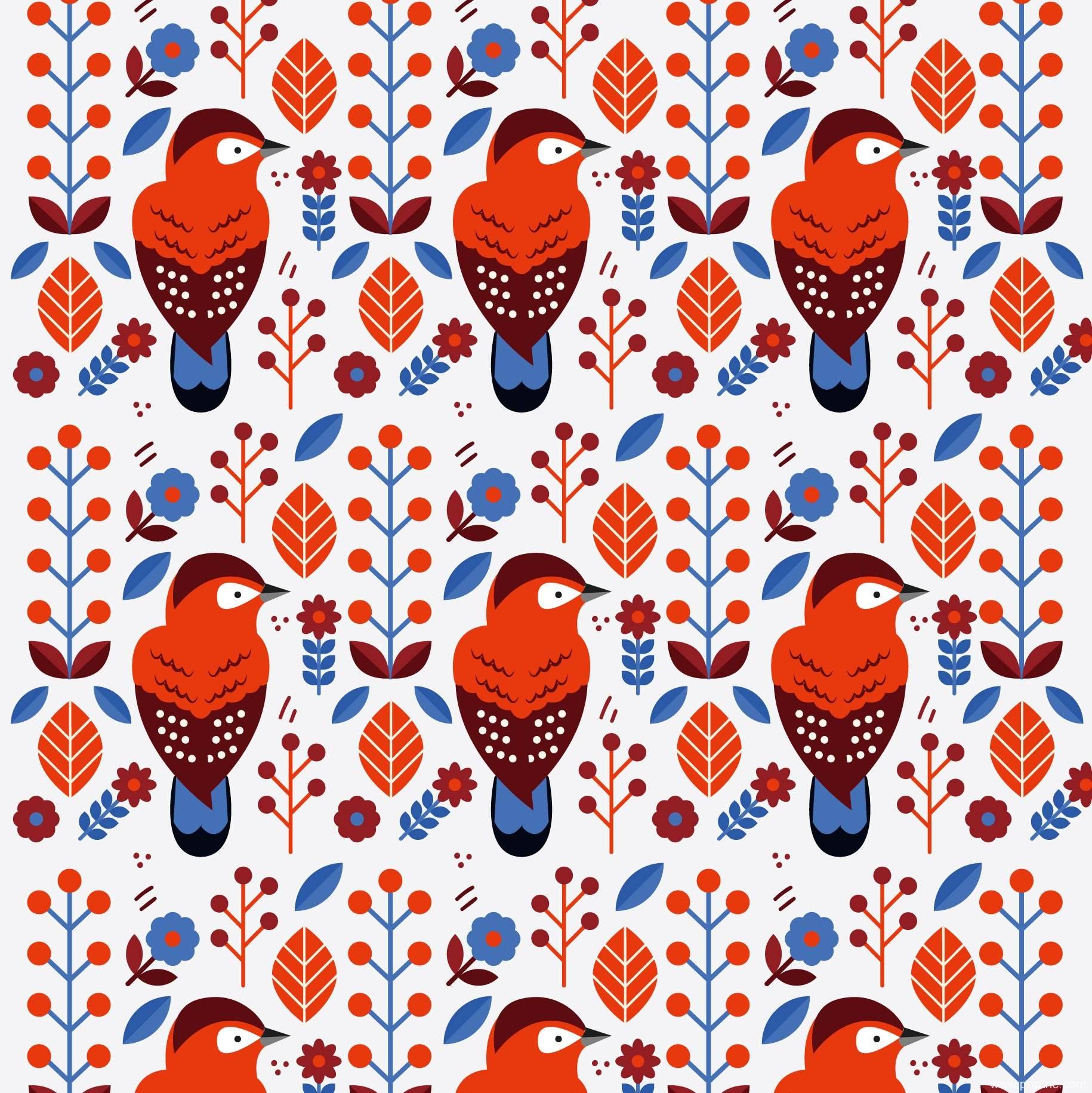 卡通啄木鸟拼接矢量图-POP花型网