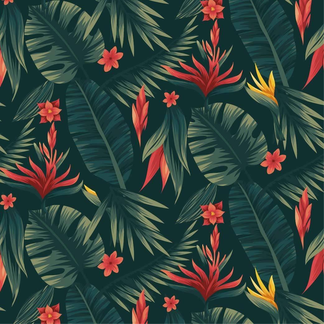 热带花卉植物数码印花矢量图-POP花型网