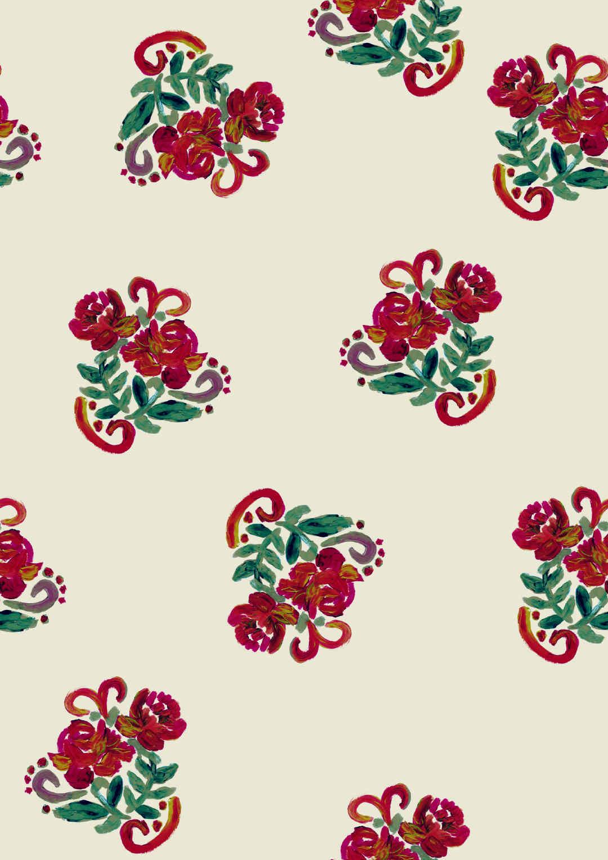 热转印植物花卉矢量图案-POP花型网