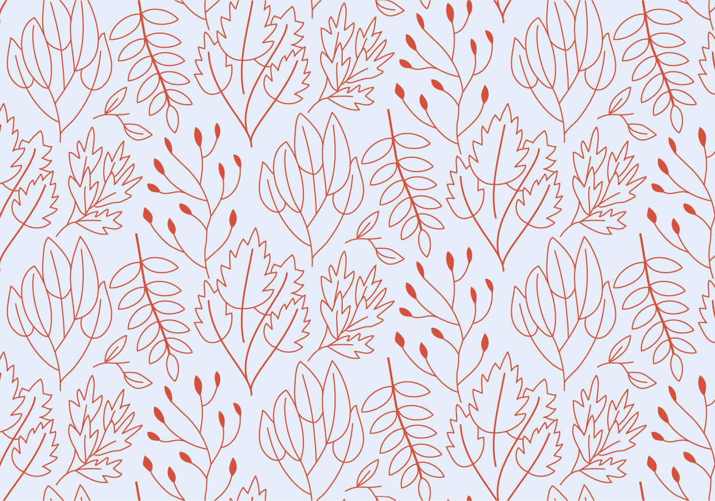 红色线条植物花卉树叶数码印花矢量图-POP花型网