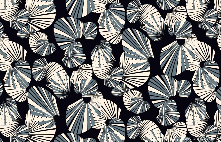 新款几何扇形纺织面料印花源文件水印数码印花金昌分色稿-POP花型网