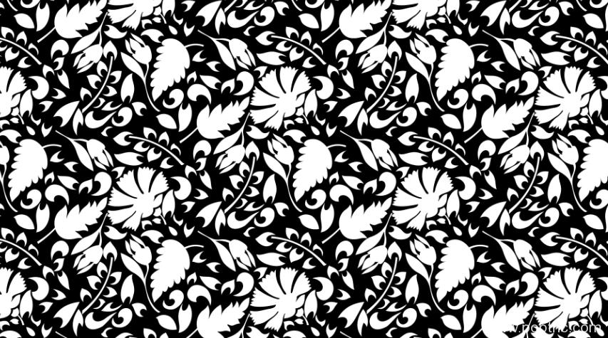 黑白植物花卉图纹矢量图纺织面料水印数码印花花型金昌分色稿源文件a2707-POP花型网
