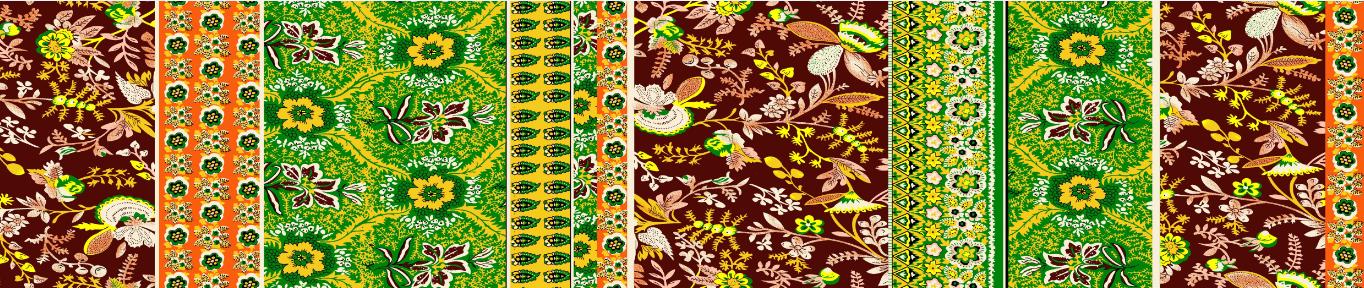 复古风格植物花卉矢量图纺织面料印花金昌分色稿文件A2685-2-POP花型网