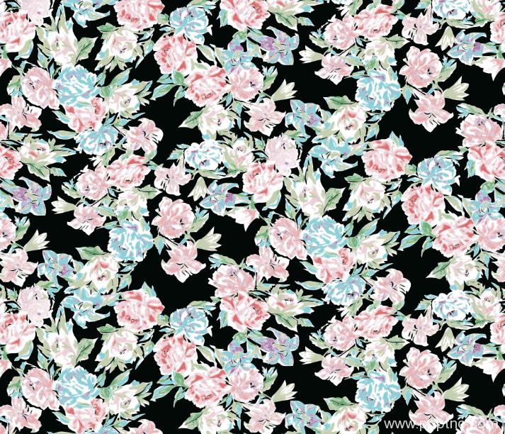 植物花卉矢量图玫瑰花图案纺织面料水印数码印花图案金昌格式源文件A2716-POP花型网