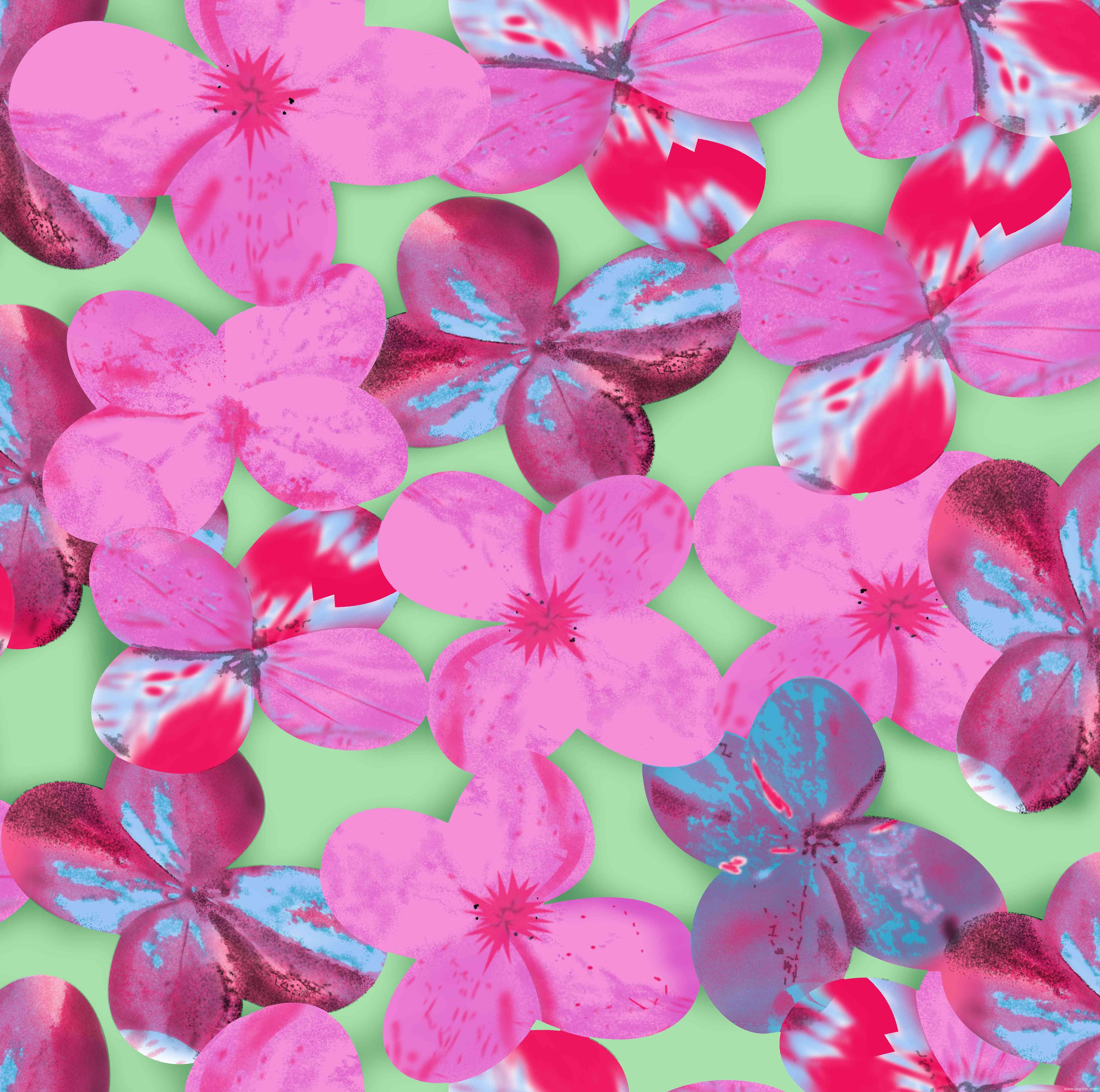 植物花卉粉色花朵纺织水印数码印花矢量图金昌分色稿源文件a2738-2-POP花型网