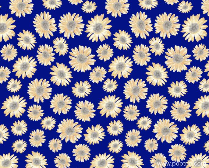 新款菊花纺织印花图案蓝色底纹水印数码印花金昌分色稿A2736-POP花型网