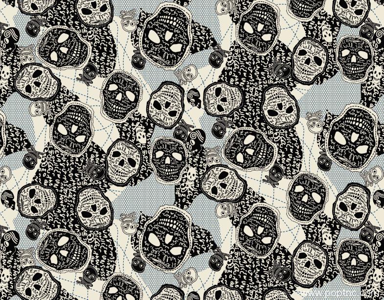 骷髅头字母涂鸦印花花型纺织面料水印数码印图案金昌格式源文件A2756-2-POP花型网
