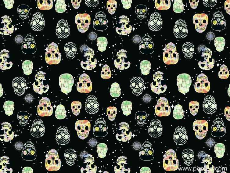 新款多彩骷髅头印花矢量图纺织面料水印数码印花图案金昌格式分色稿A2756-1-POP花型网
