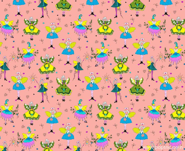卡通小人仙女矢量图服装纺织面料印花图案水印数码印花金昌分色稿文件a2755-2-POP花型网